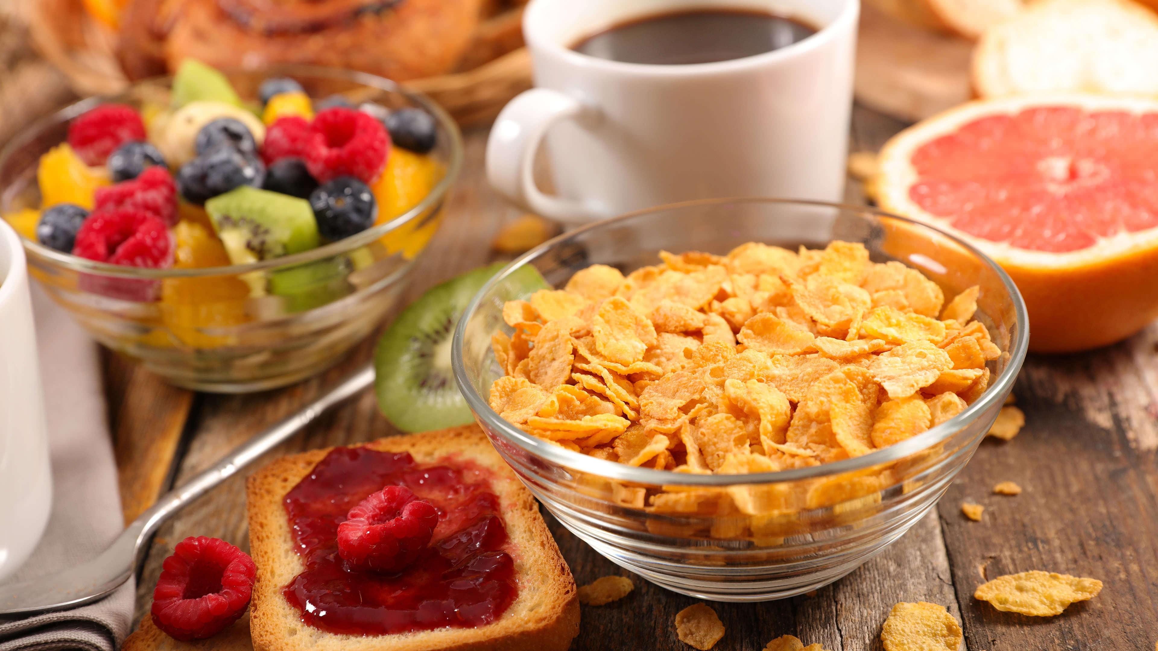 corn flakes toast and fruit breakfast uhd 4k wallpaper