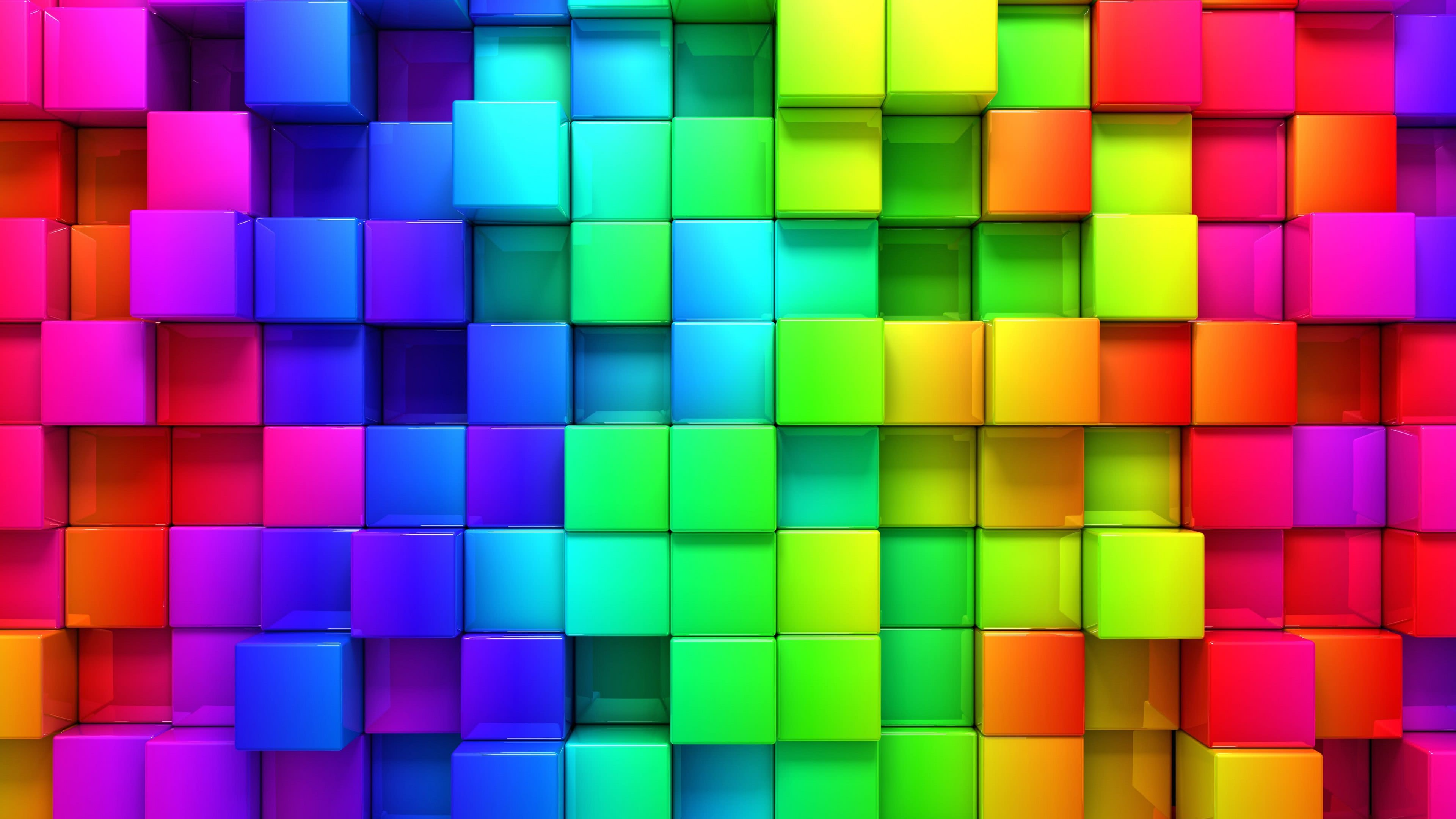 cubic rainbow uhd 4k wallpaper