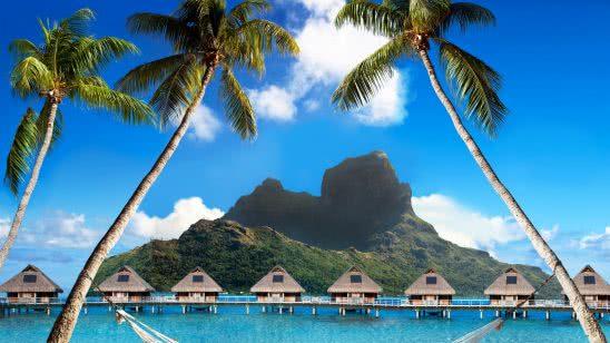 floating bungalows bora bora french polynesia uhd 4k wallpaper