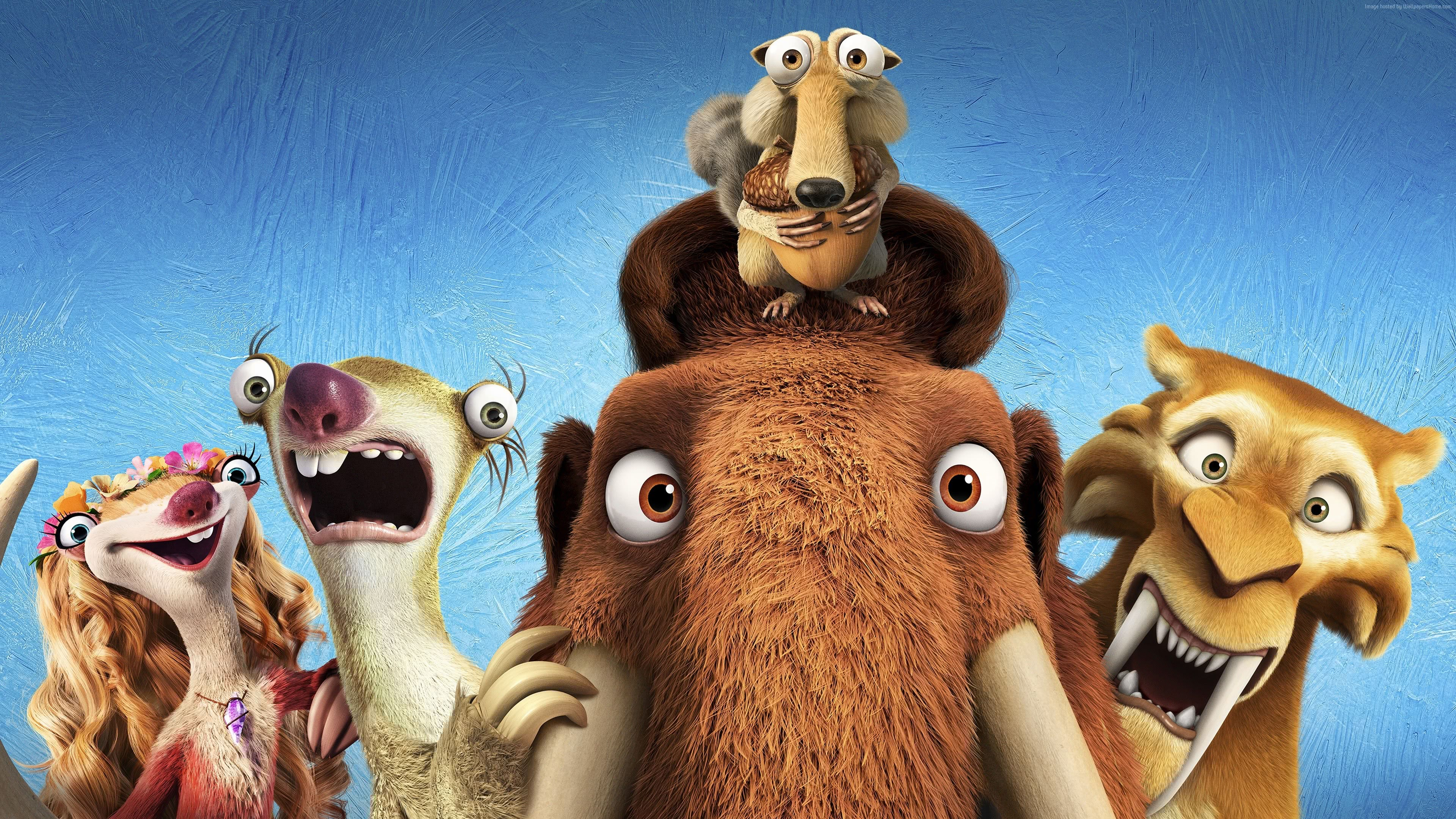 ice age 5 collision course diego manny scrat sid uhd 4k wallpaper