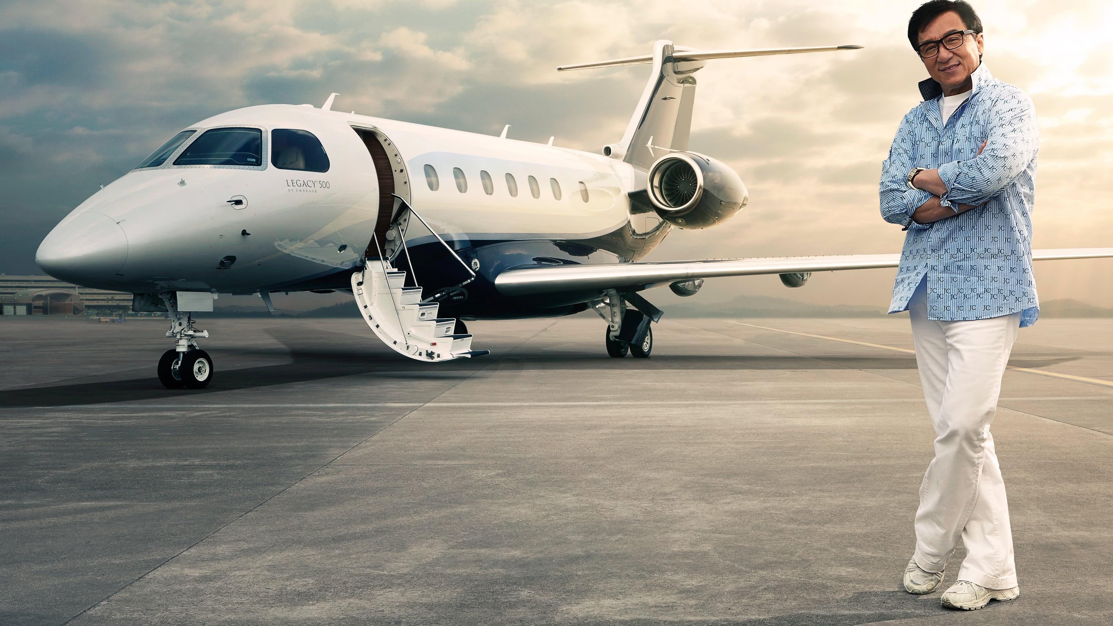 jackie chan embraer legacy 500 private jet uhd 4k wallpaper
