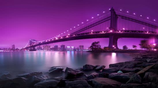 manhattan bridge at night new york city united states uhd 4k wallpaper