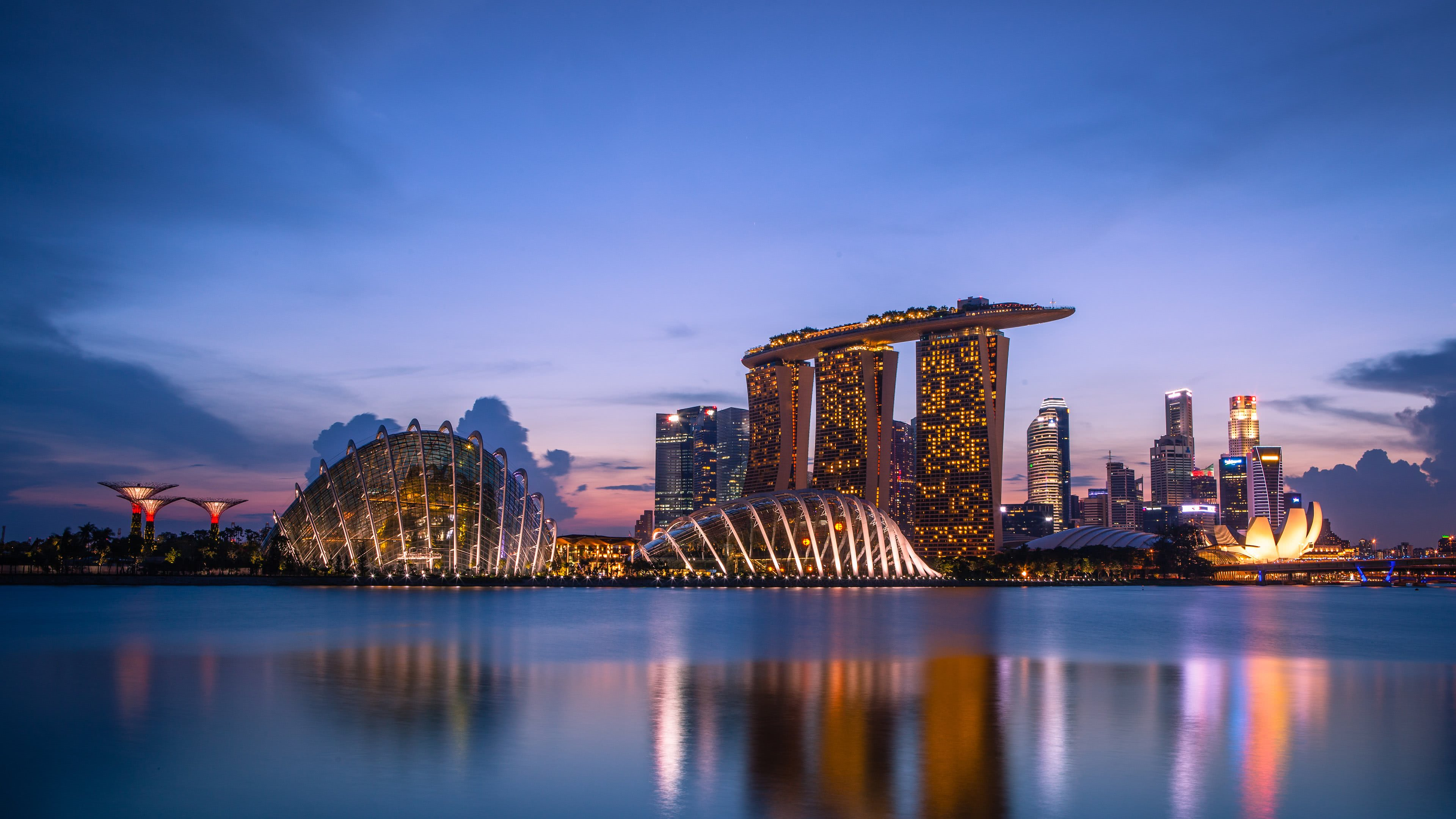 marina bay at night singapore uhd 4k wallpaper