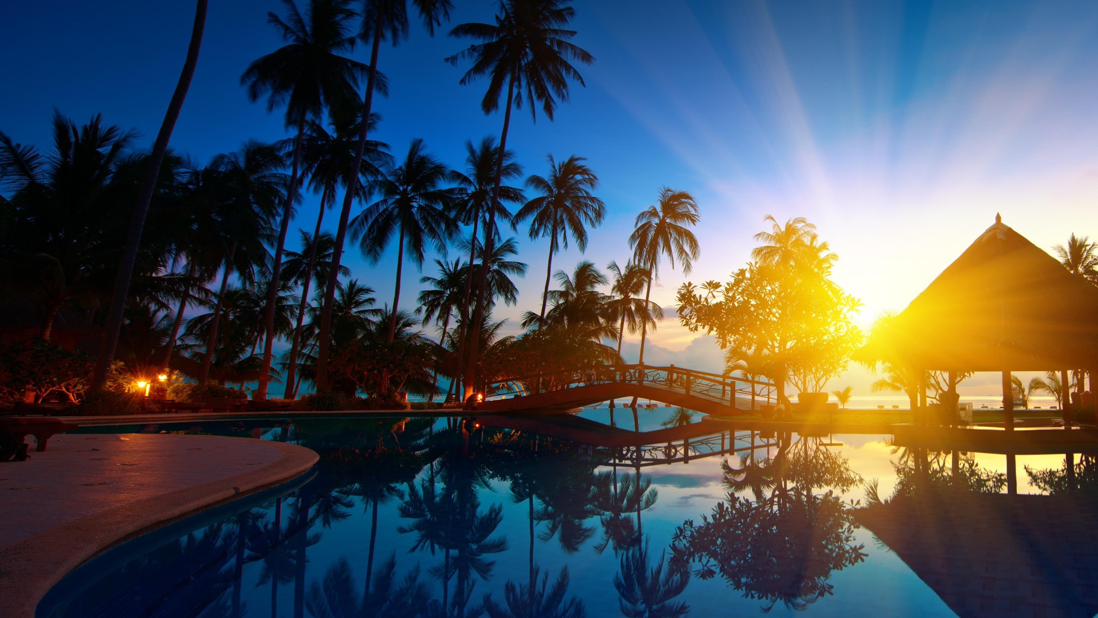 resort pool sunset thailand uhd 4k wallpaper