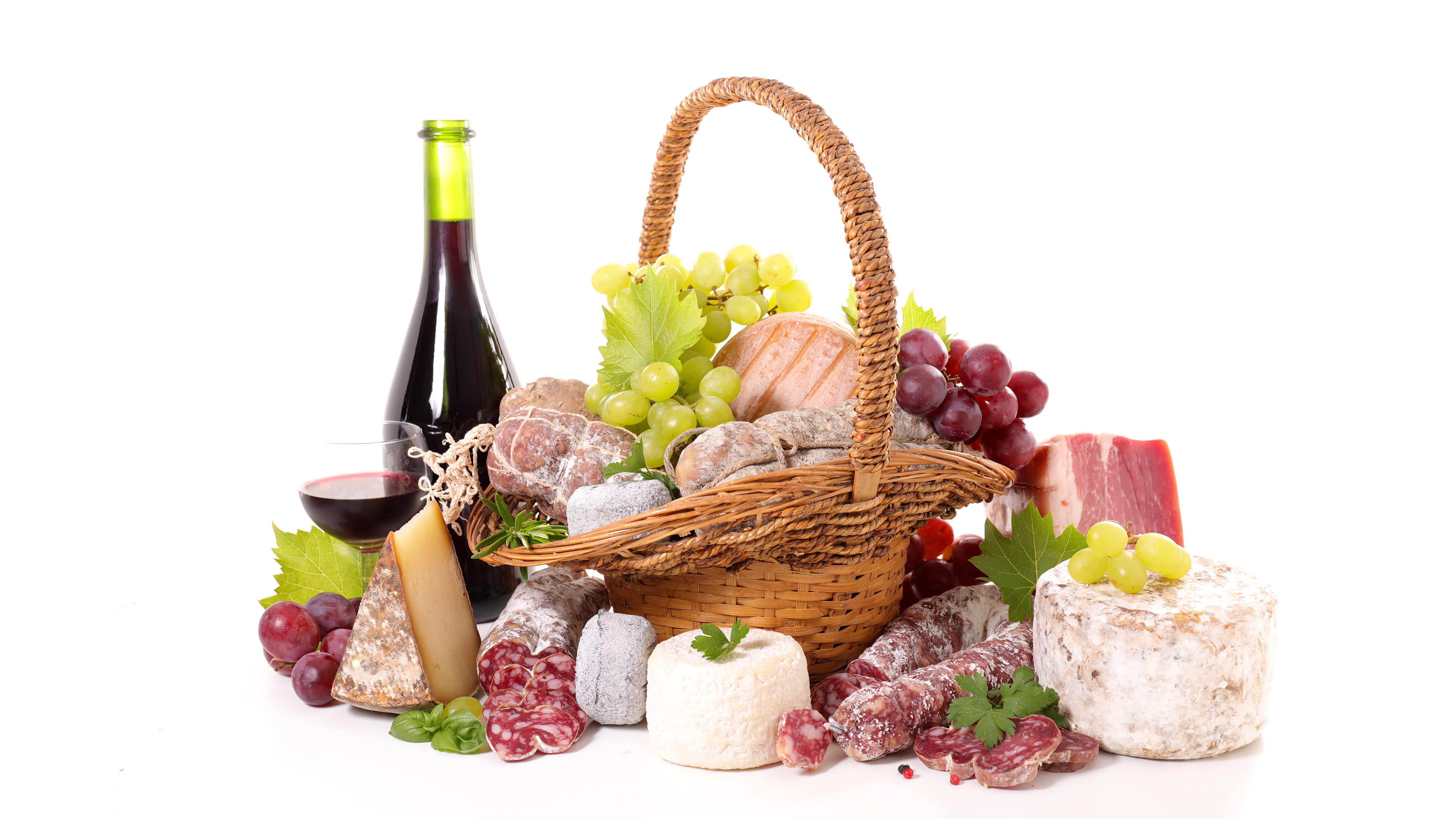 sausage cheese and wine basket uhd 4k wallpaper
