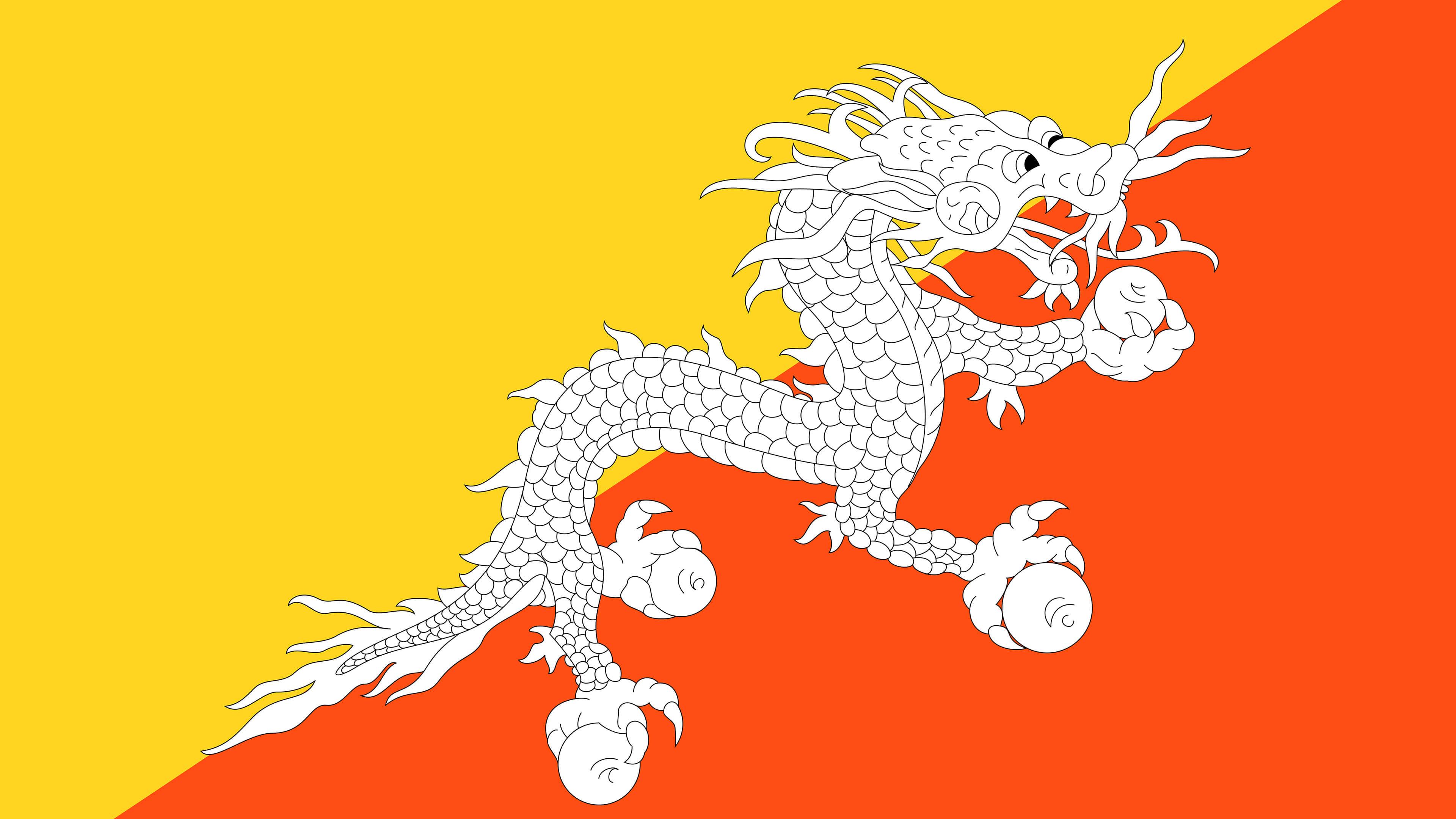 bhutan flag uhd 4k wallpaper
