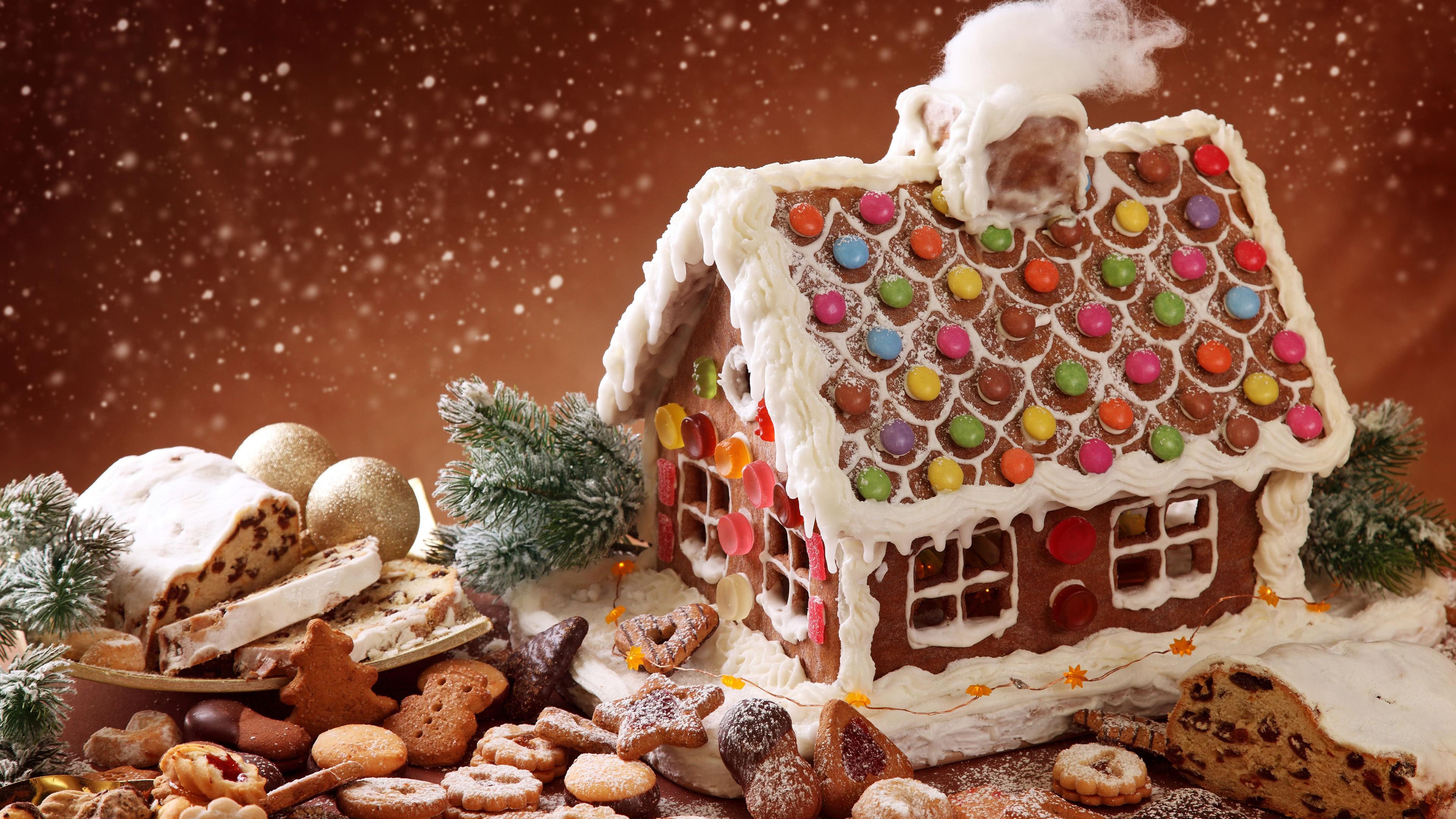 christmas gingerbread house uhd 4k wallpaper