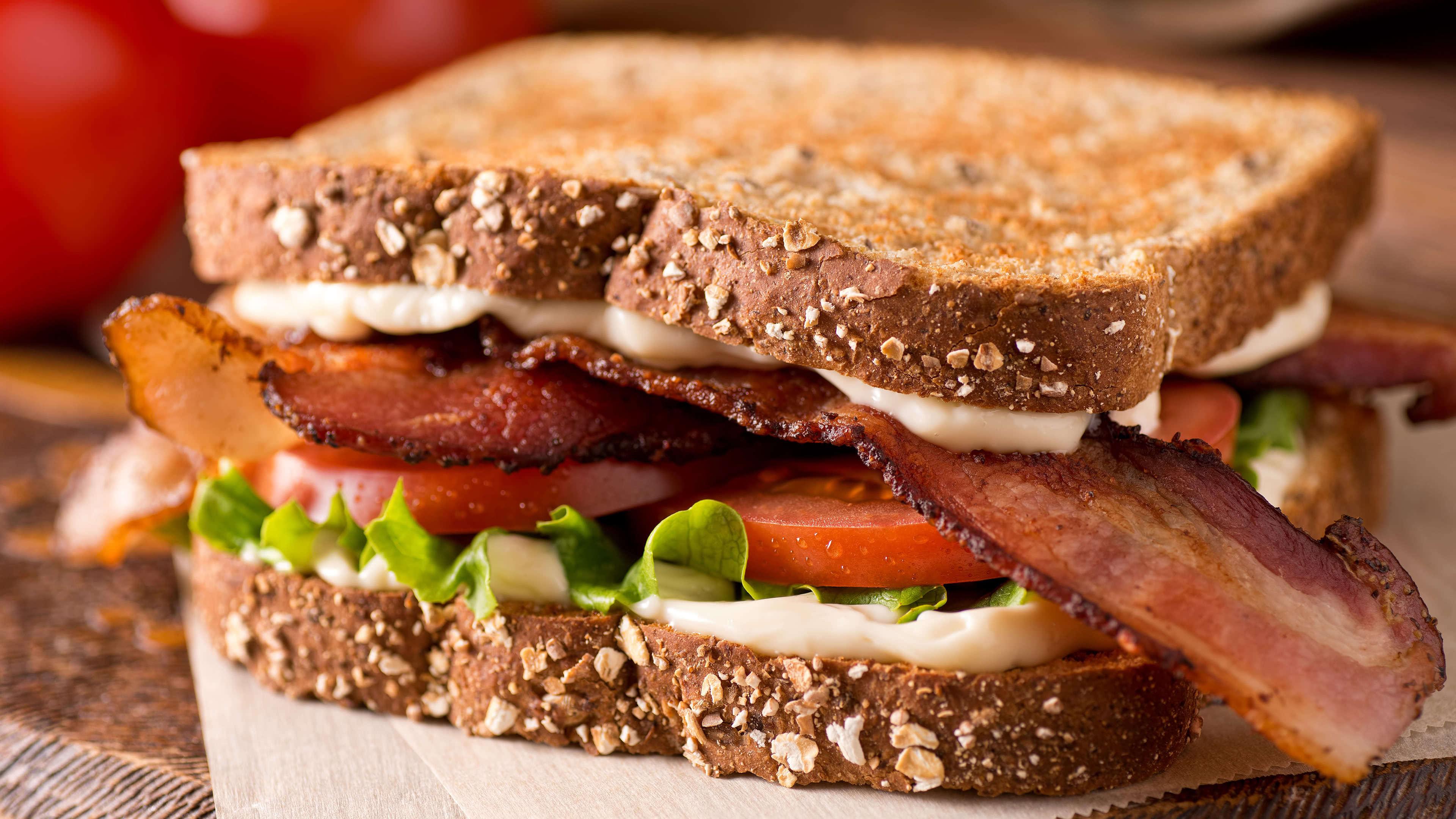 classic blt bacon lettuce tomato sandwich uhd 4k wallpaper