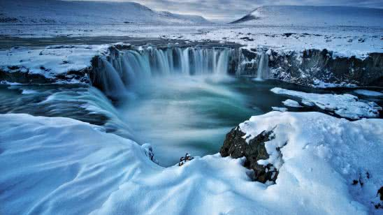 godafoss waterfall winter iceland uhd 4k wallpaper
