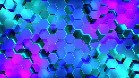 hexagon pattern blue and purple uhd 4k wallpaper