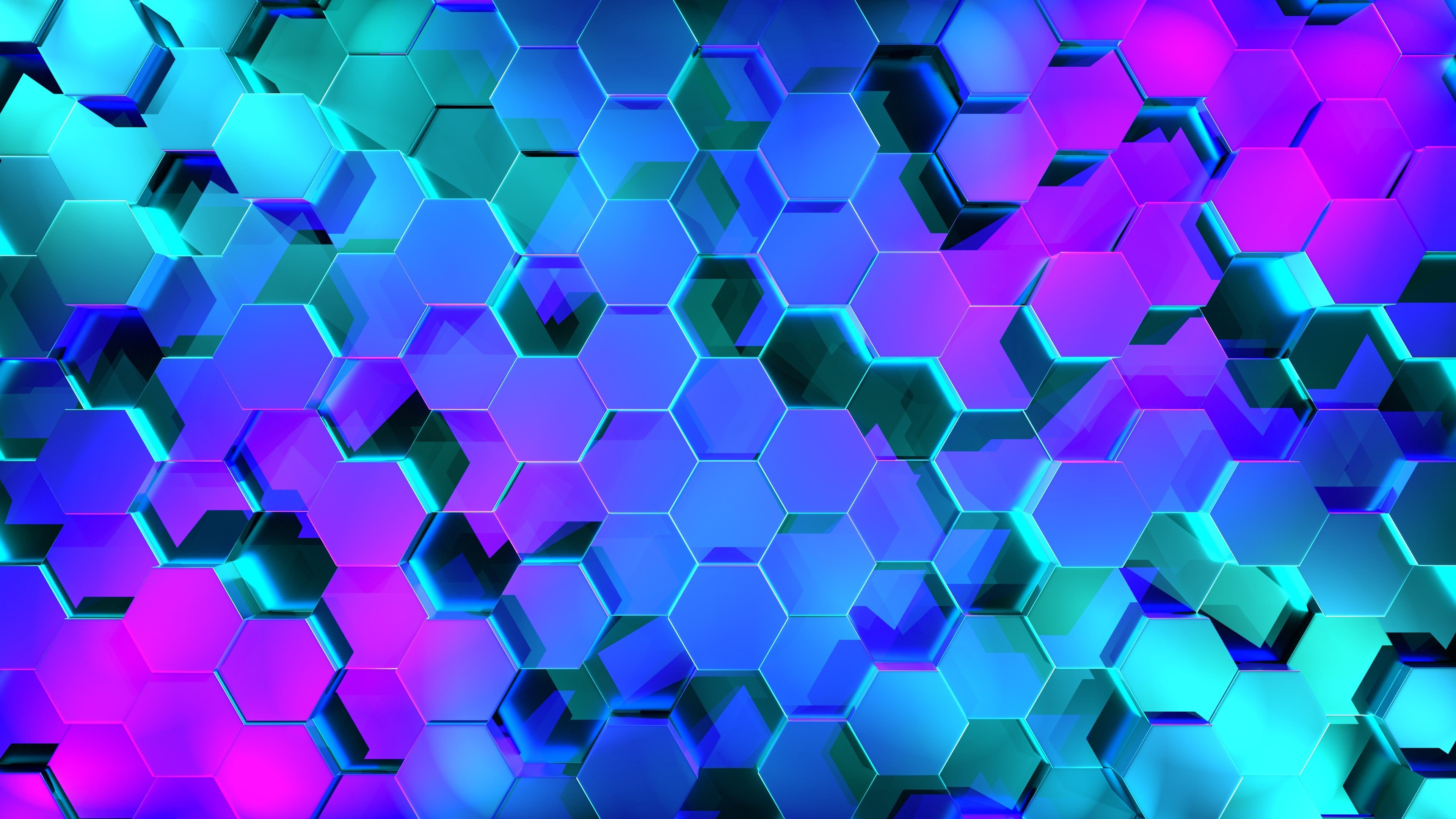 hexagon pattern blue and purple uhd 4k wallpaper
