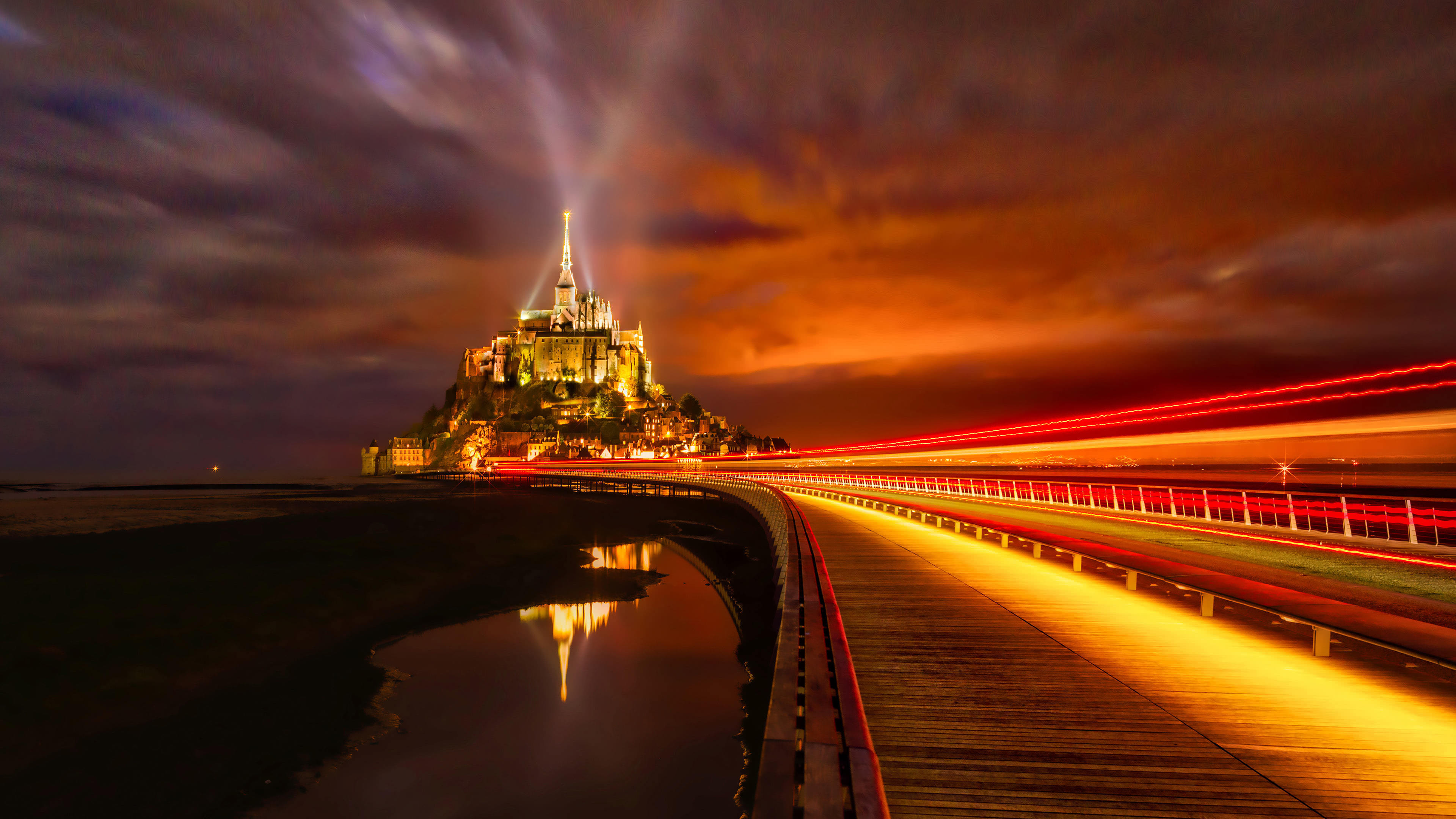 mont saint michel island night lights-normandy france uhd 4k wallpaper