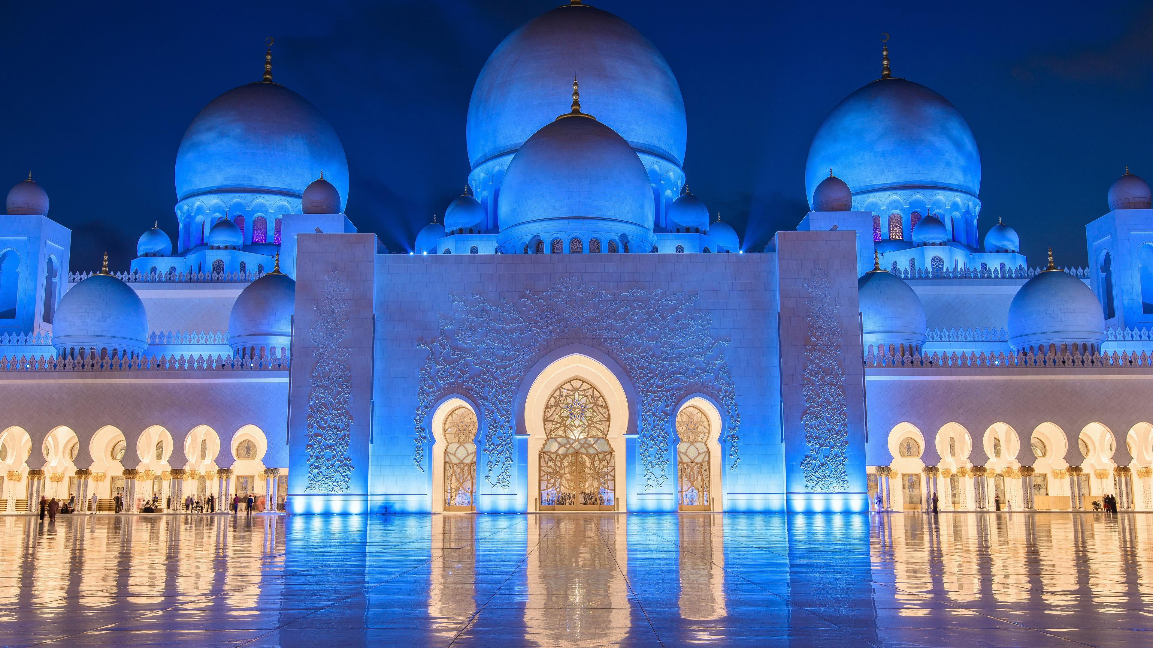 sheikh zayed mosque at night abu dhabi united arab emirates uhd 4k wallpaper