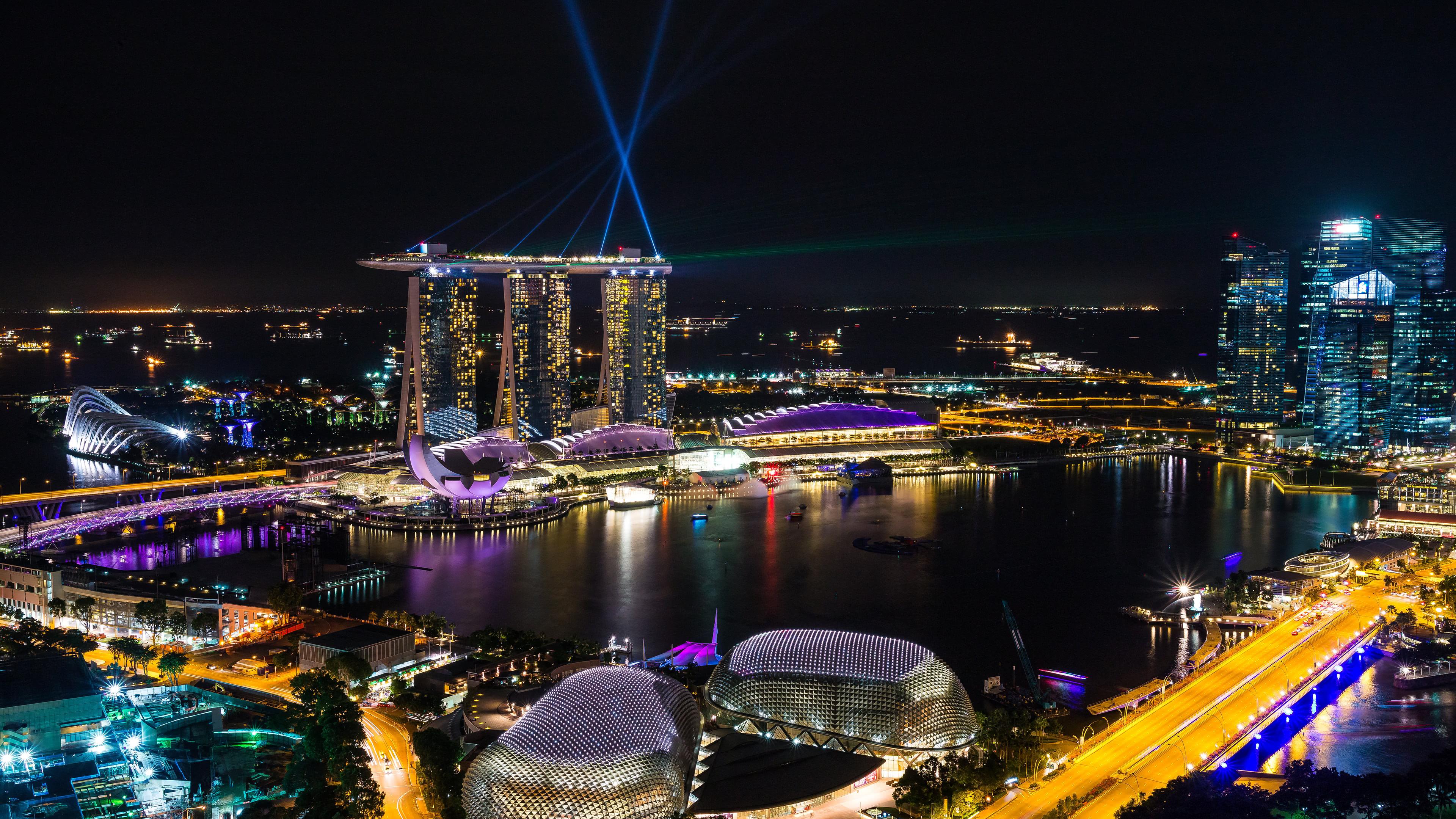 singapore marina bay night uhd 4k wallpaper