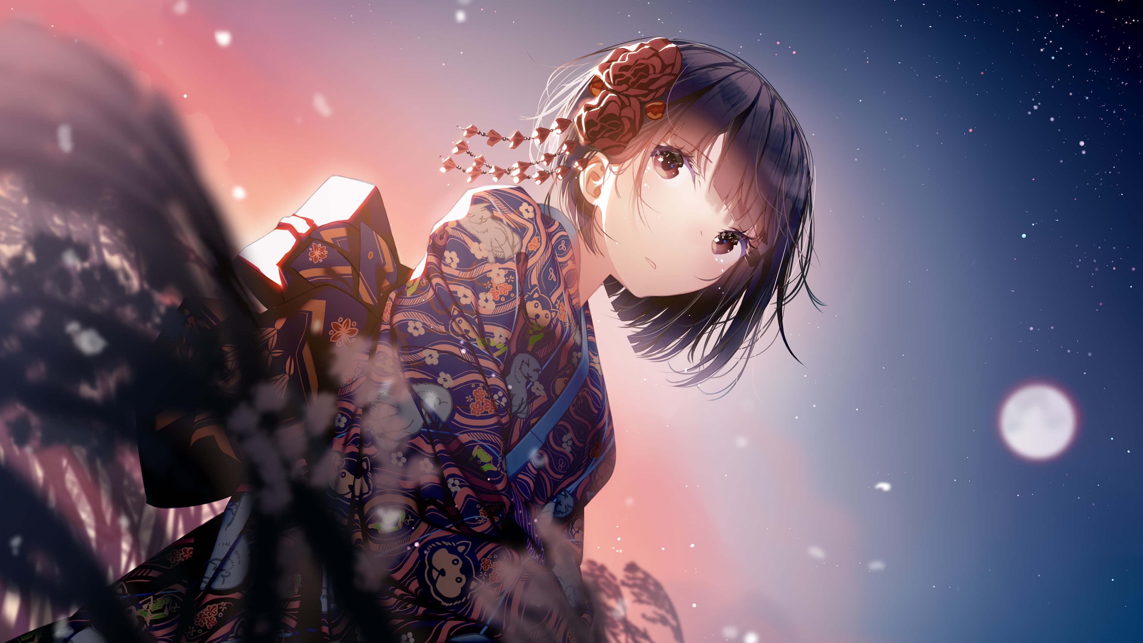 Anime 4k Wallpaper: Anime Girl Kimono UHD 4K Wallpaper