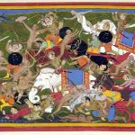 battle at lanka ramayana udaipur painting uhd 4k wallpaper