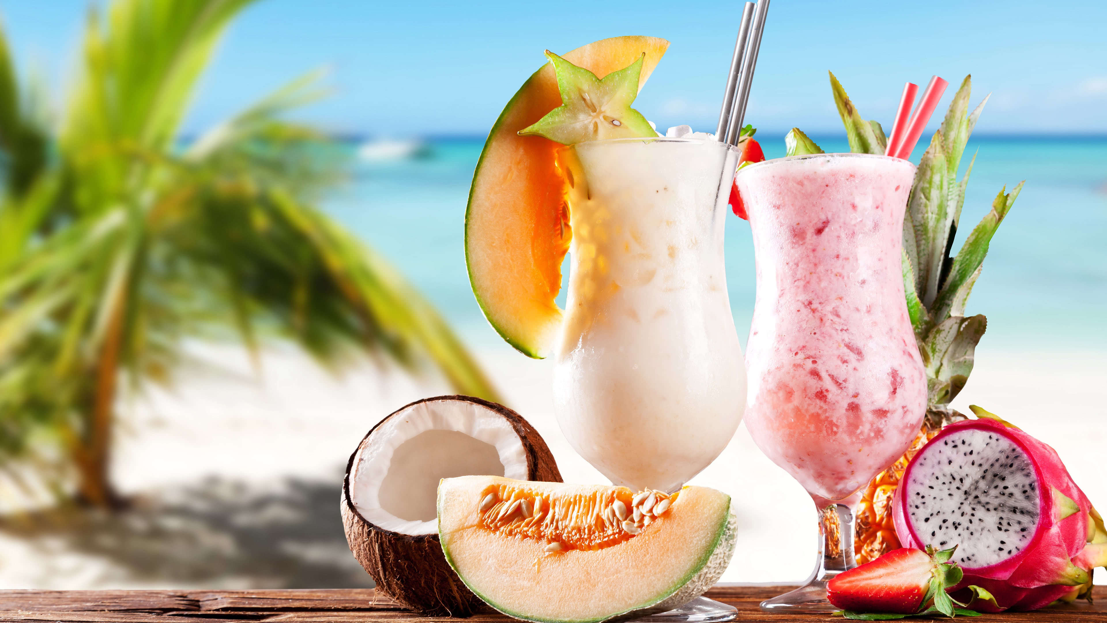 Beach Fruit Shake Cocktails Uhd 4k Wallpaper Pixelz