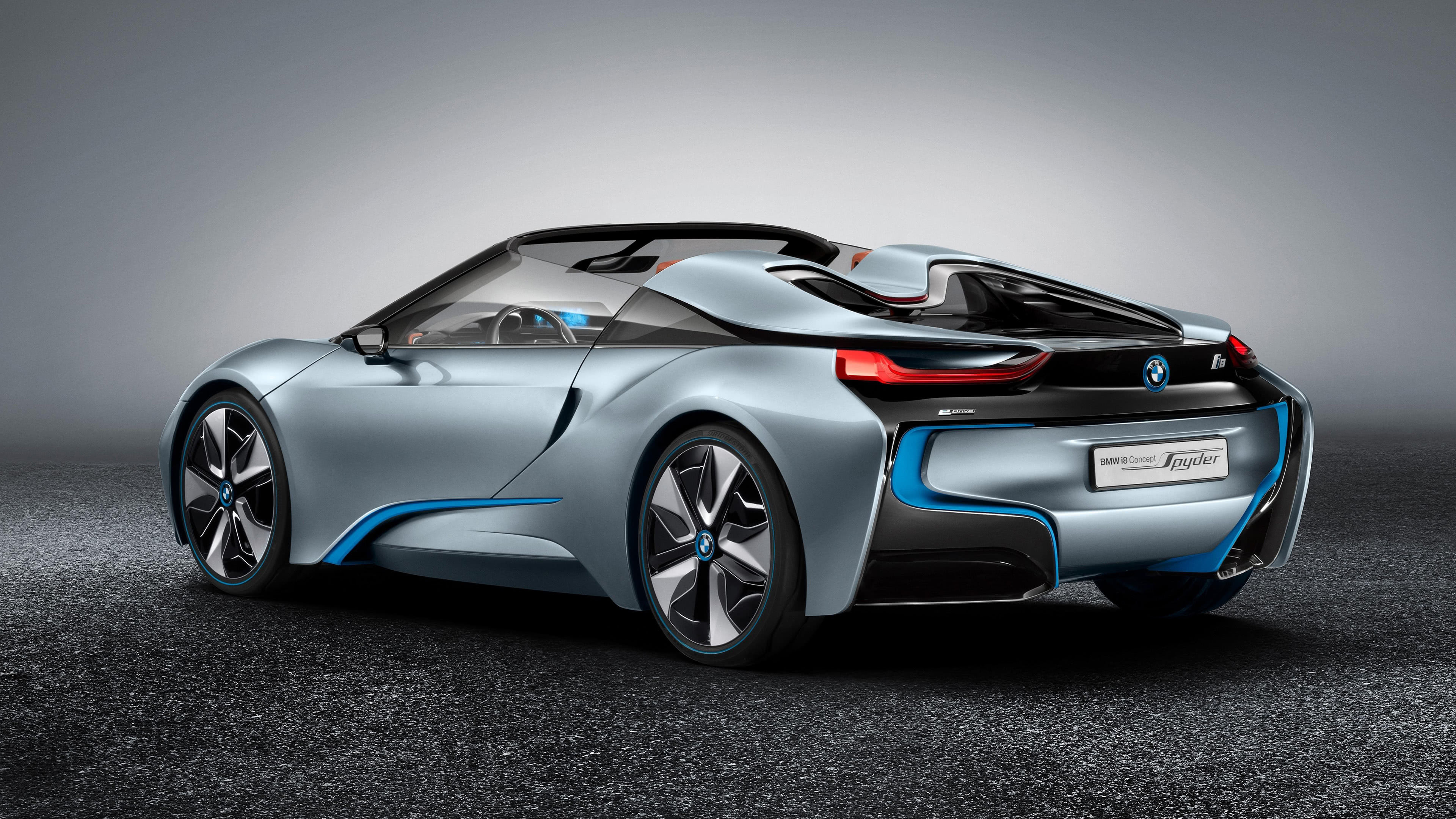 bmw i8 spyder roadster rear uhd 4k wallpaper
