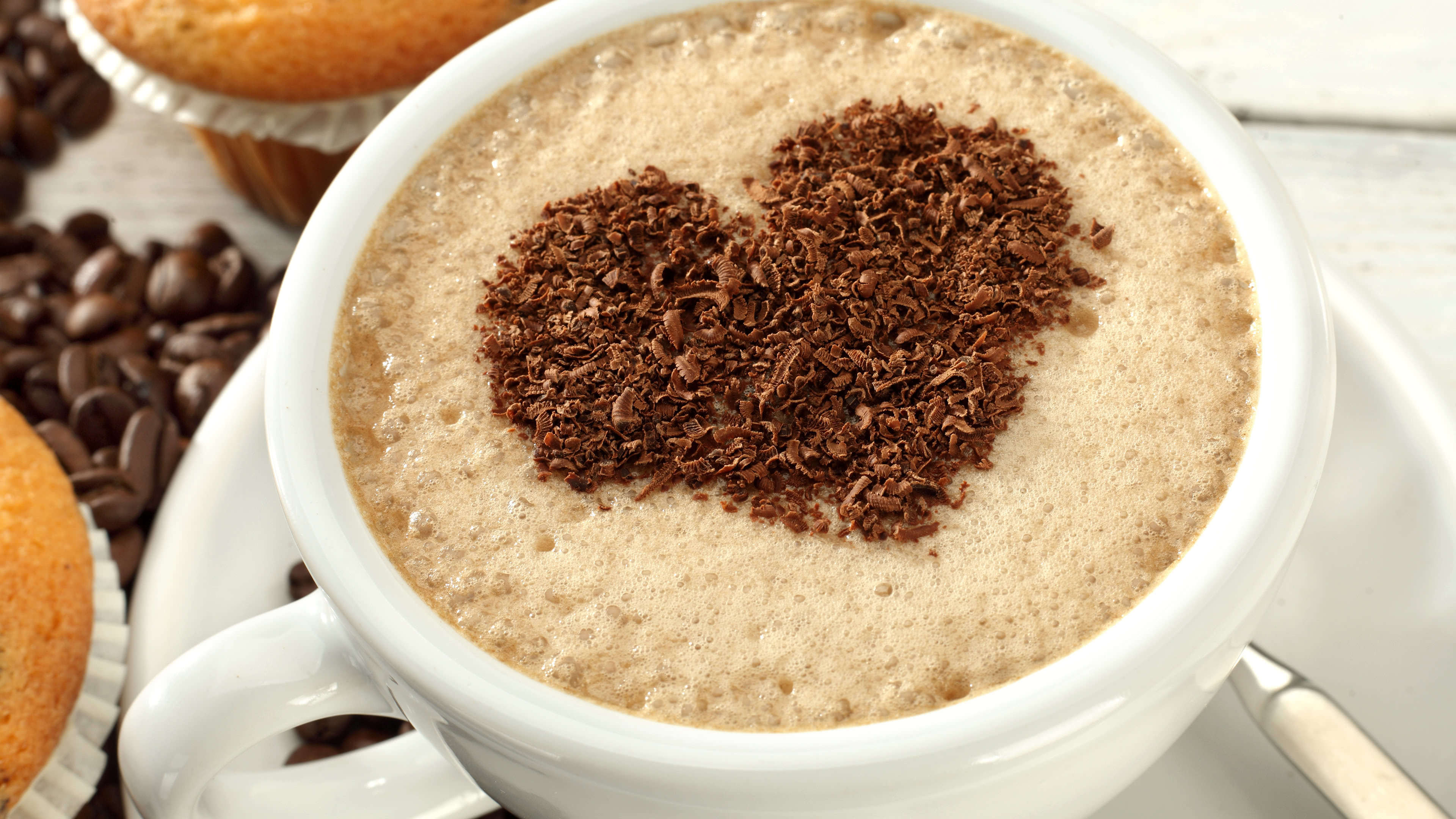 coffee art chocolate heart uhd 4k wallpaper