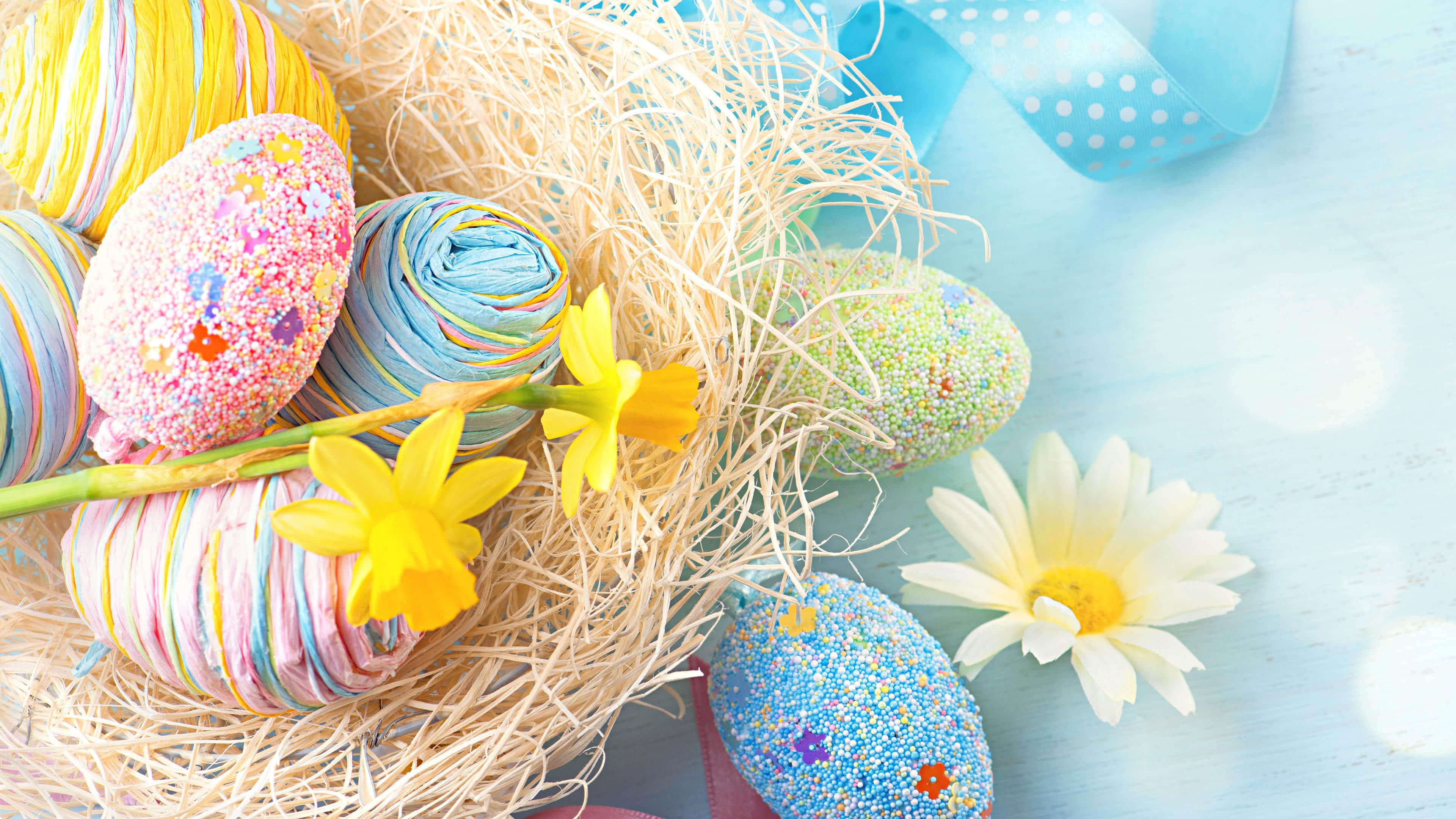 easter eggs and flowers uhd 4k wallpaper