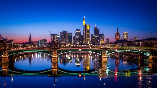 frankfurt bridge night germany uhd 4k wallpaper