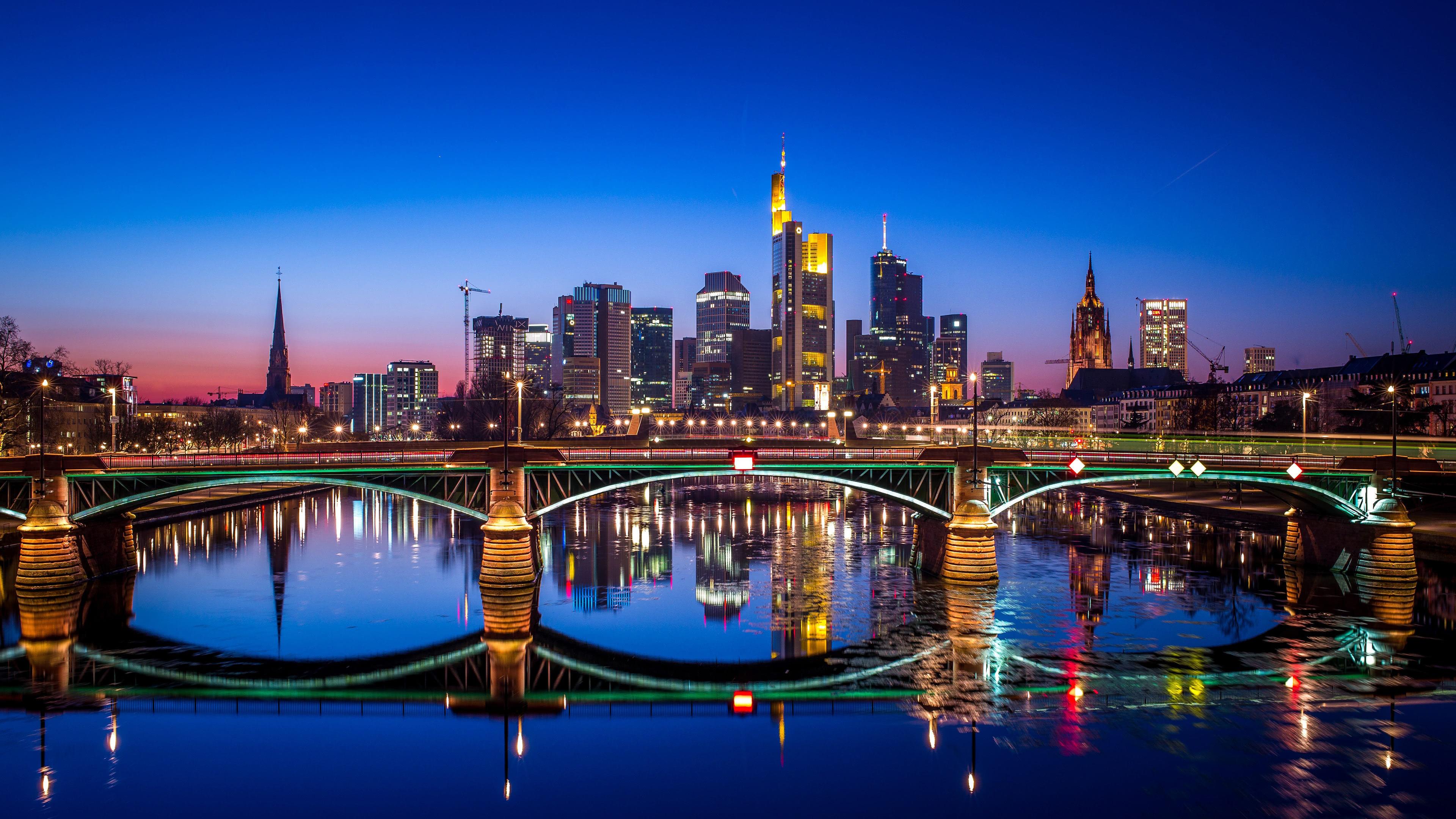 frankfurt bridge night germany uhd 4k wallpaper