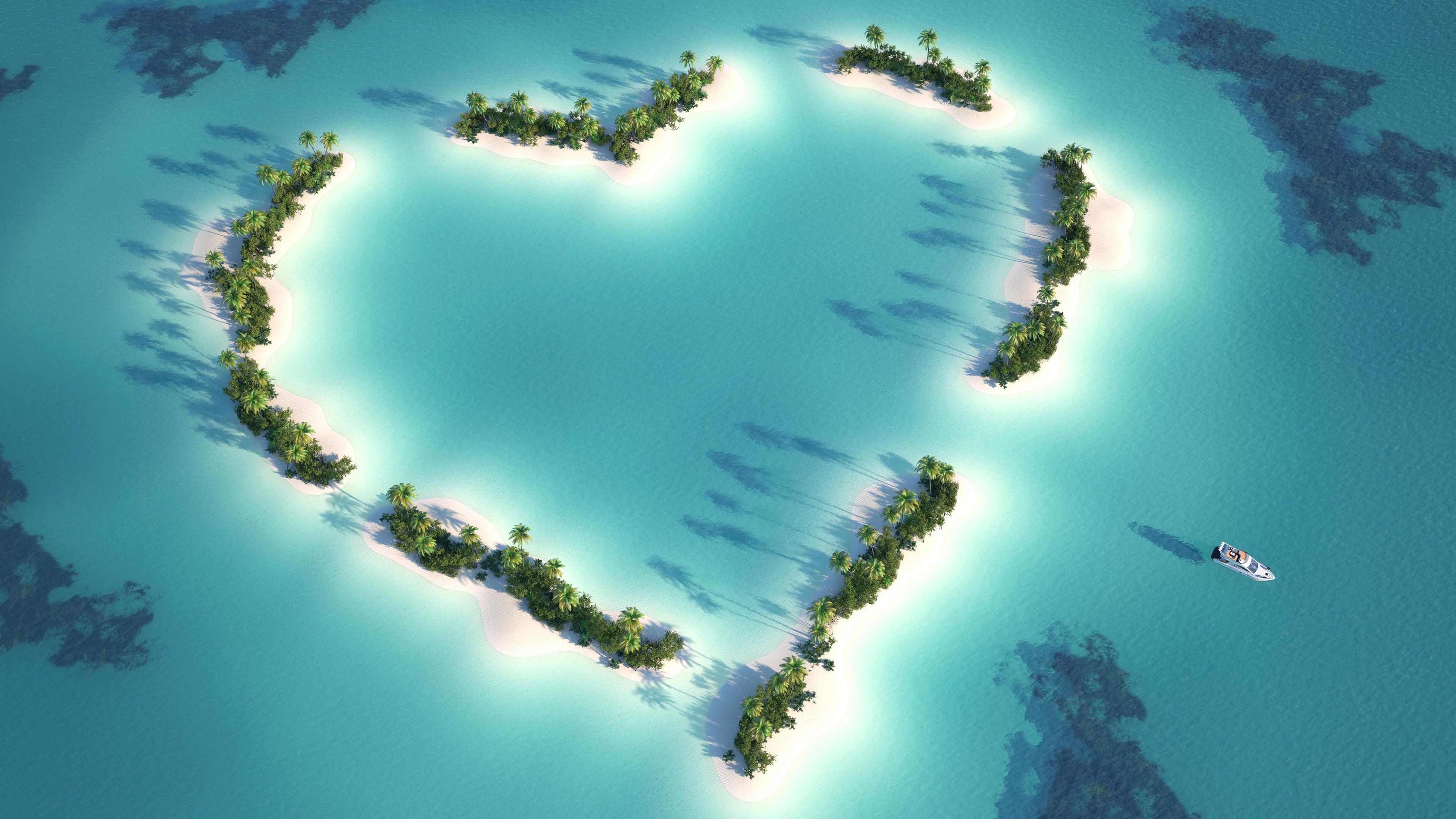 heart island uhd 4k wallpaper