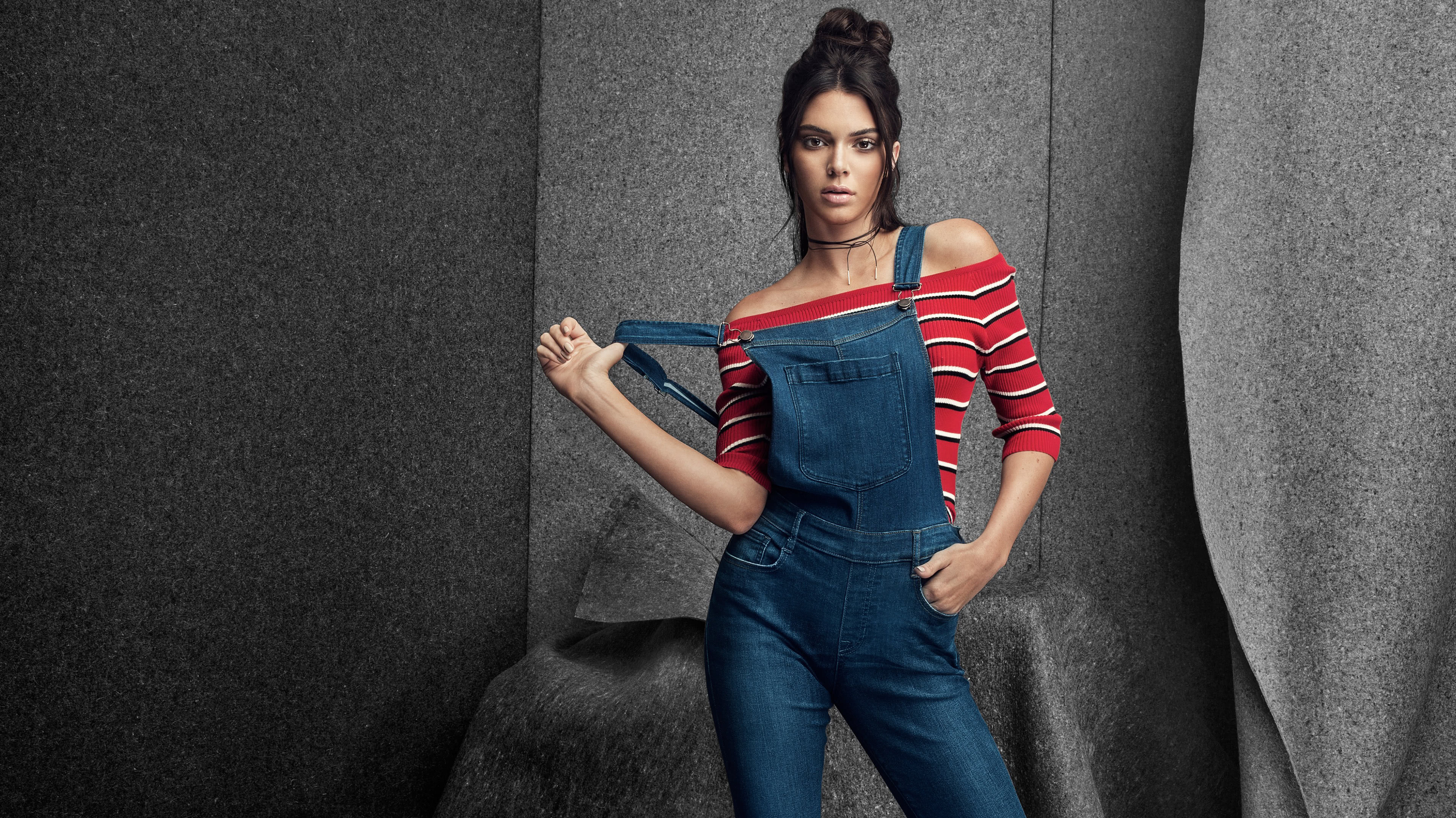 kendall jenner overalls photoshoot uhd 4k wallpaper