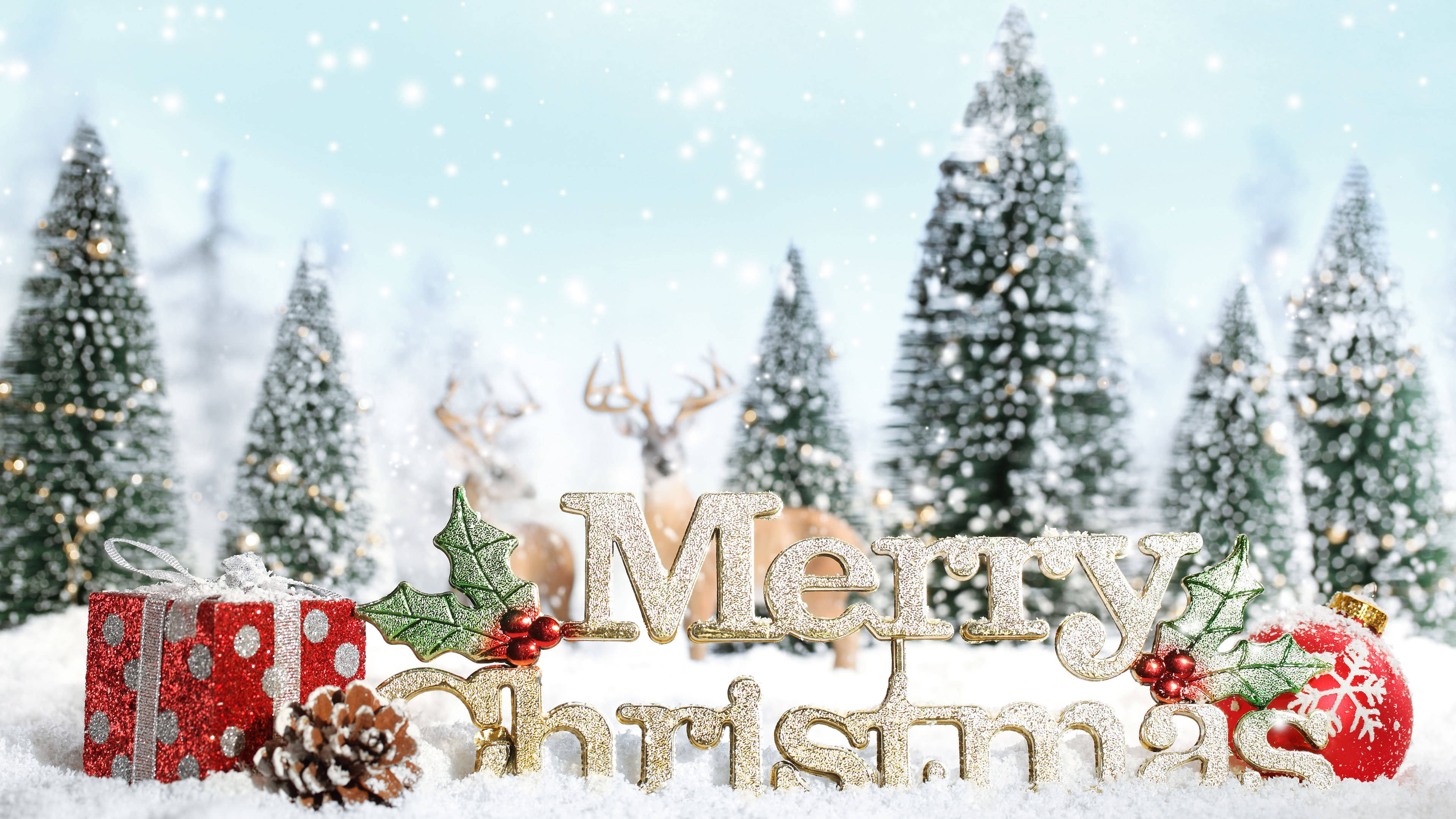 merry christmas text uhd 4k wallpaper