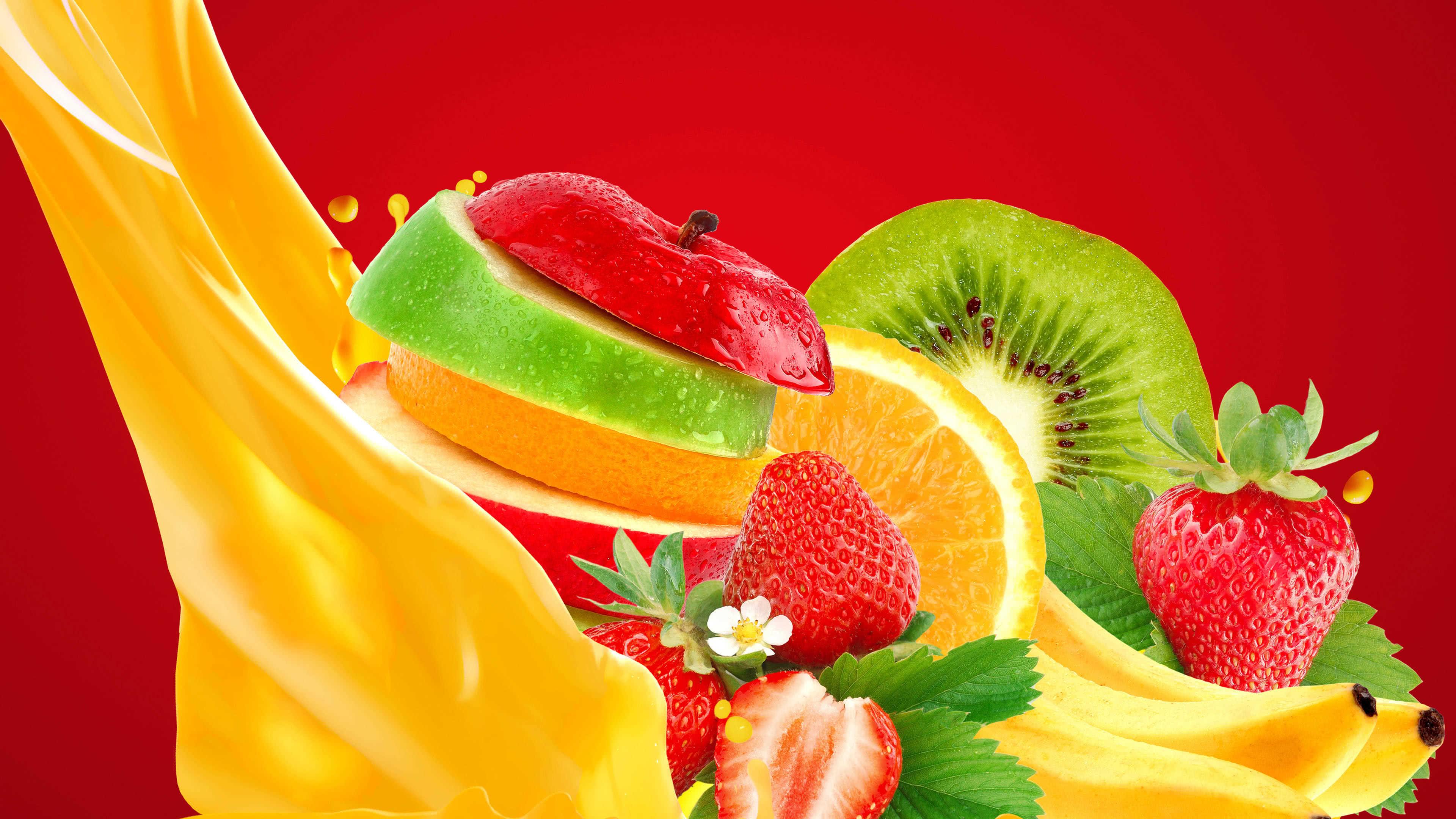 mixed fruits strawberry banana apple kiwi orange uhd 4k wallpaper