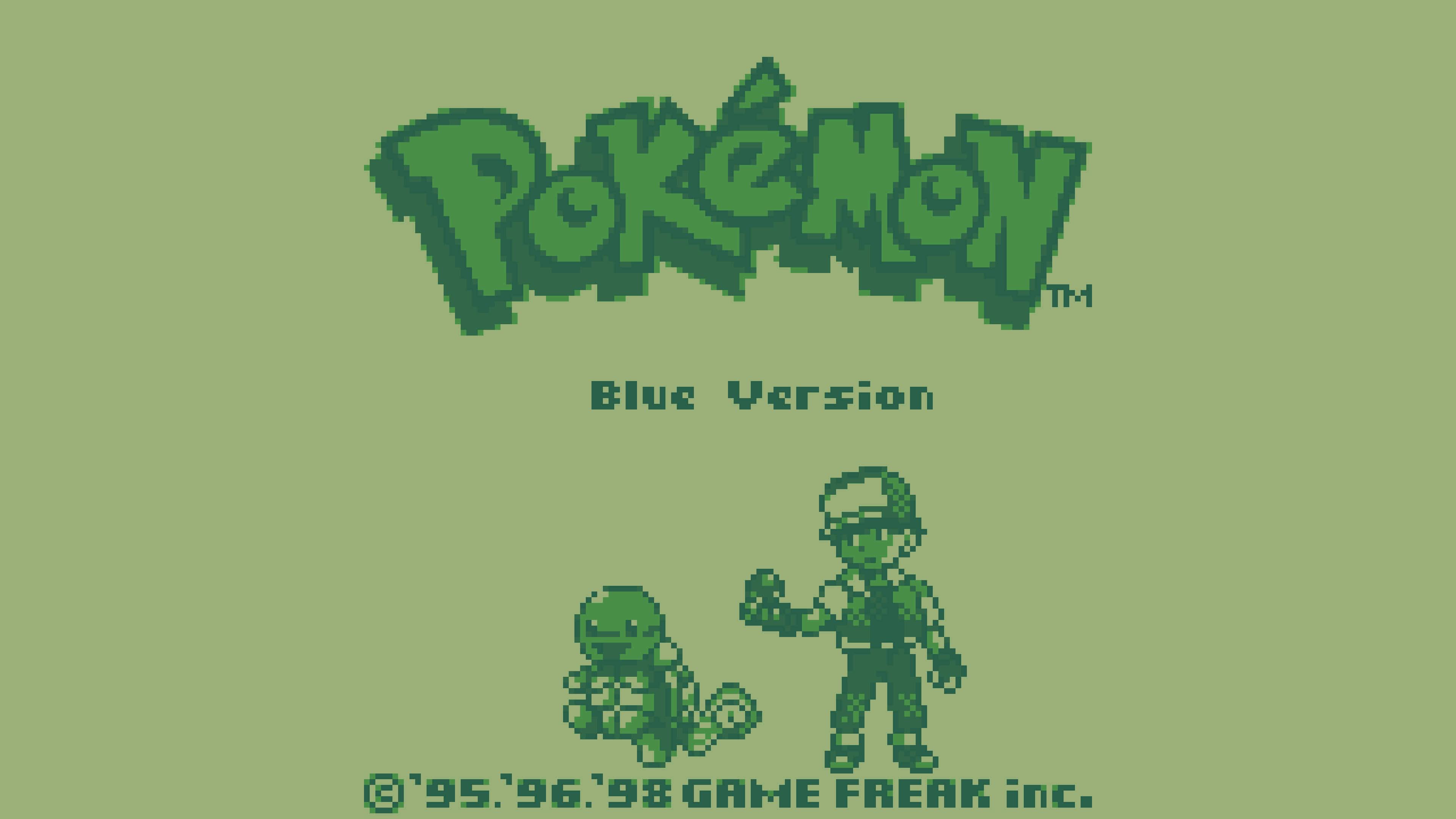 pokemon blue game boy screenshot uhd 4k wallpaper