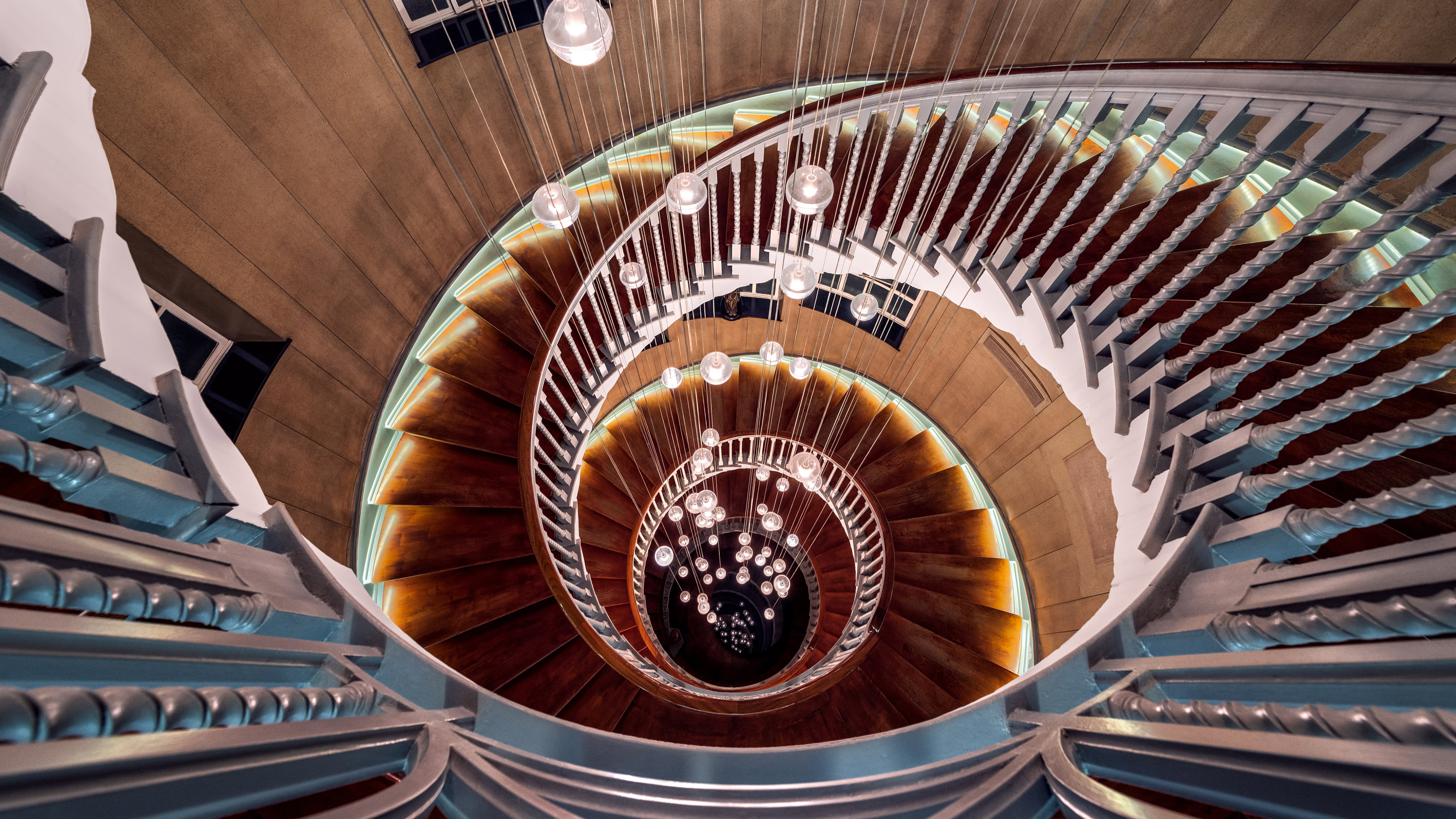spiral staircase uhd 4k wallpaper