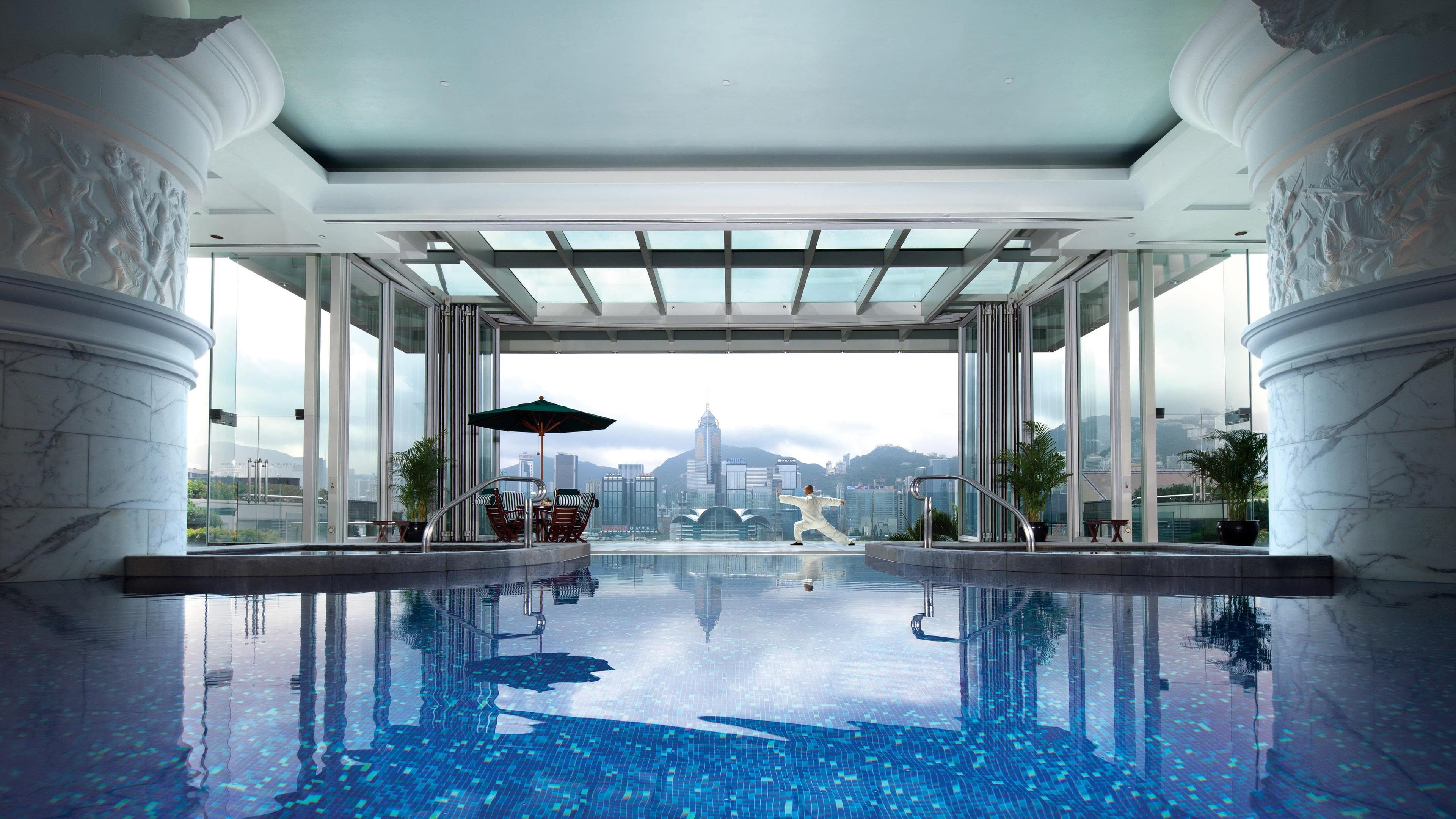the peninsula hong kong pool china uhd 4k wallpaper