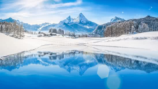 winter mountains lake landscape uhd 4k wallpaper