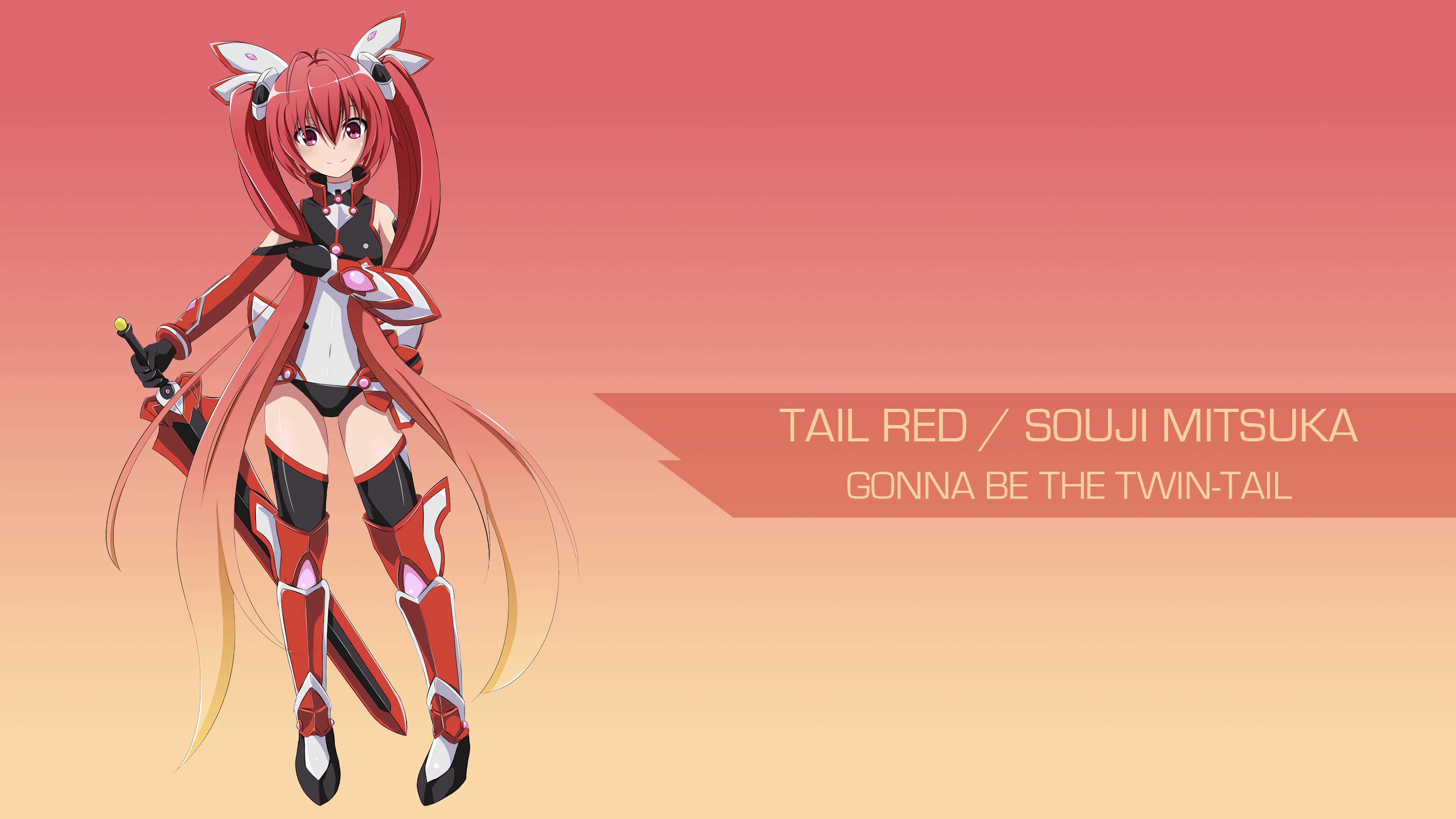 tail red souji mitsuka gonna be the twin tail uhd 4k wallpaper