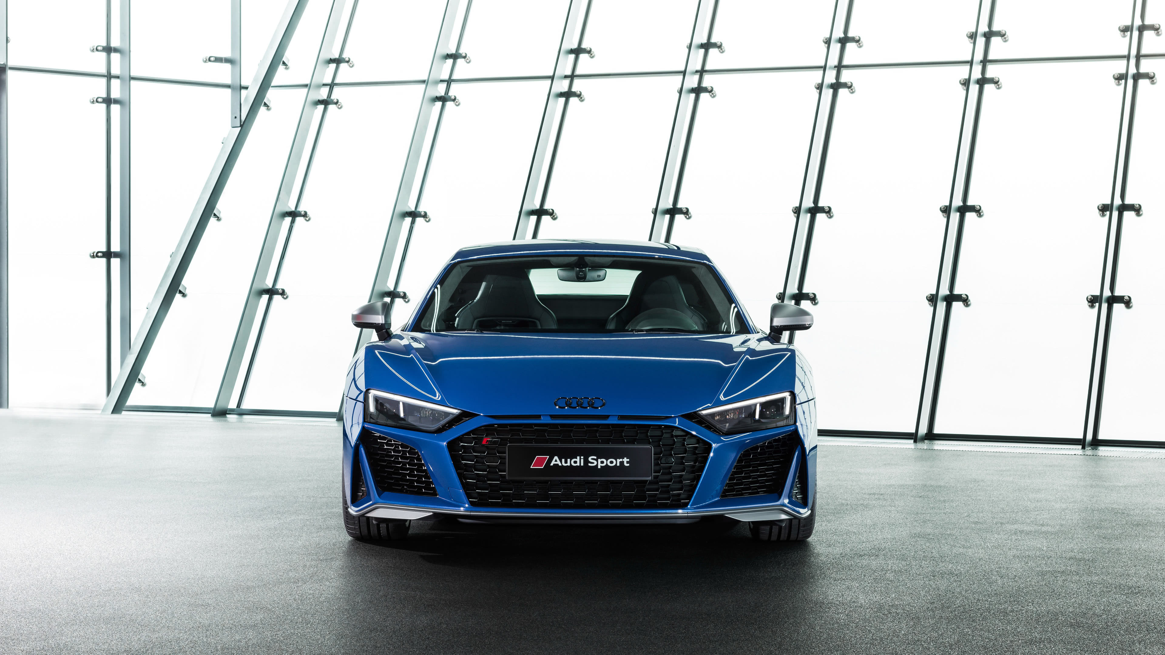 audi r8 blue front uhd 4k wallpaper