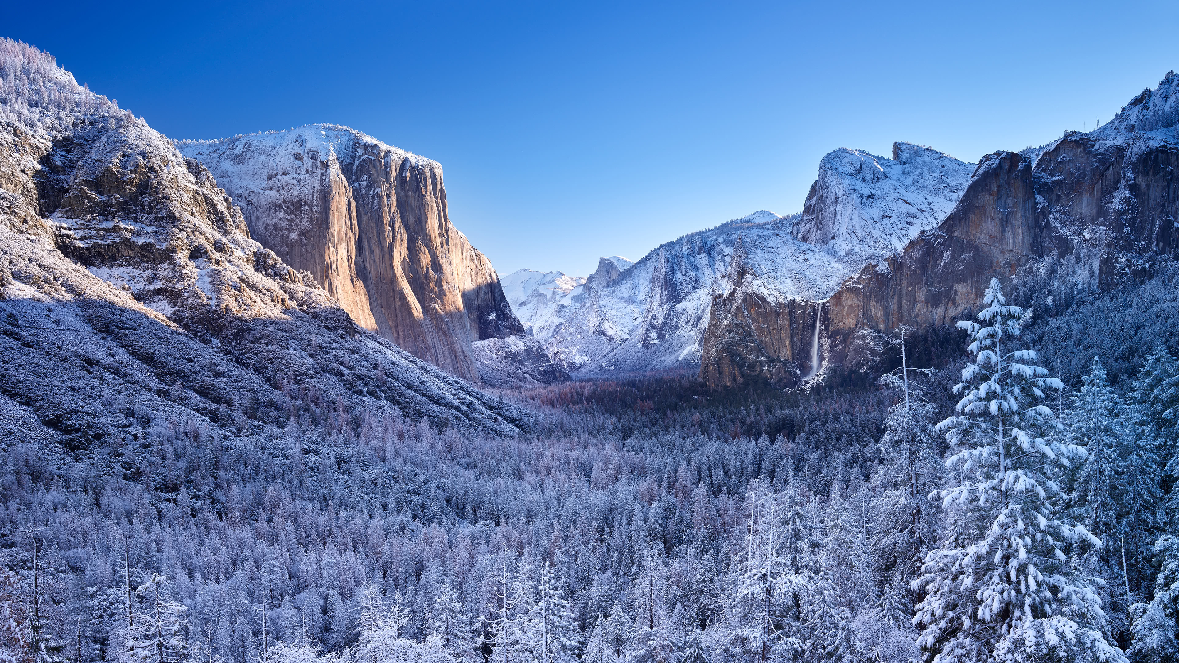 el capitan rock formation winter yosemite national park california united states 4k wallpaper