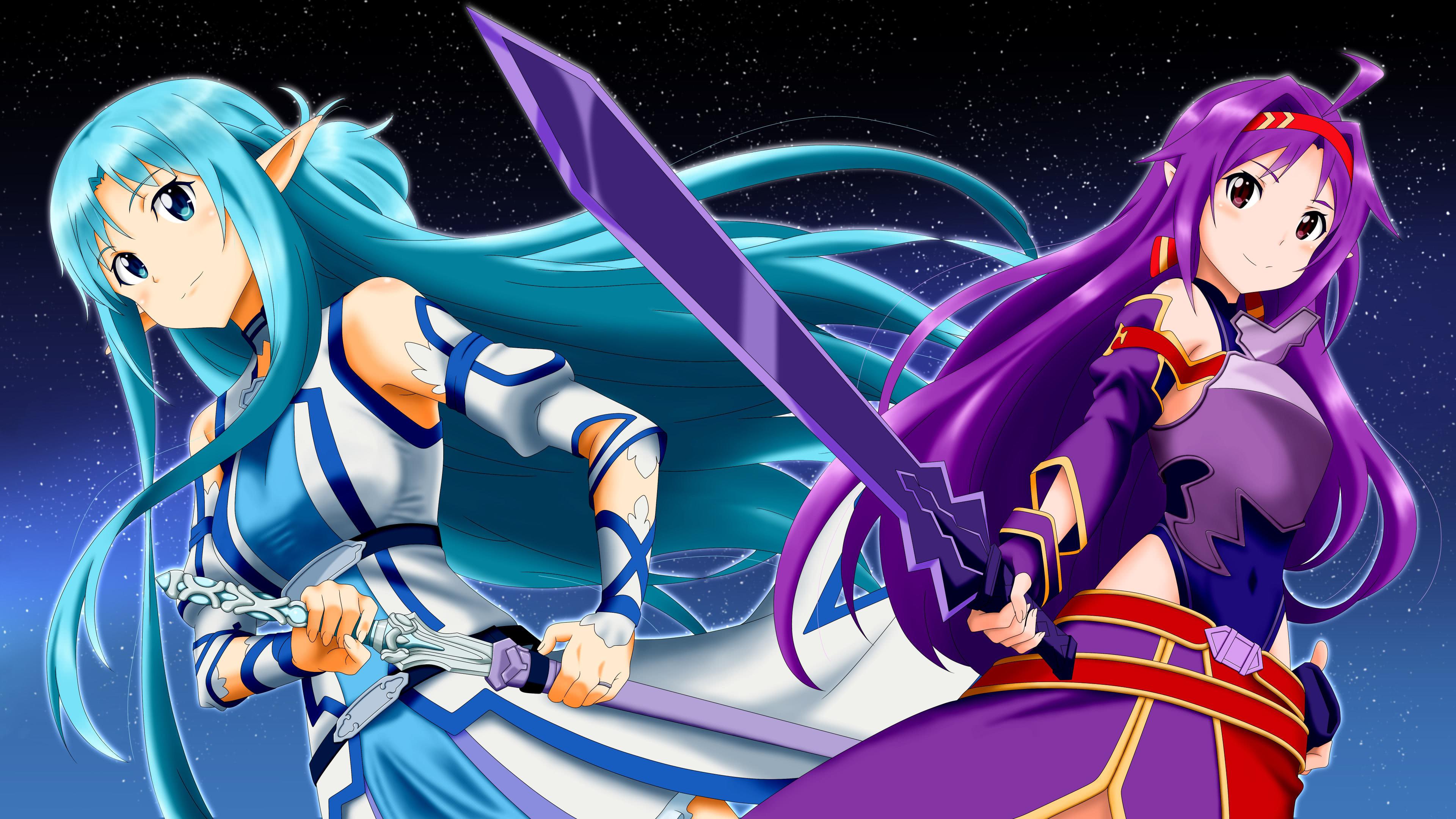 sword art online asuna and yuuki uhd 4k wallpaper