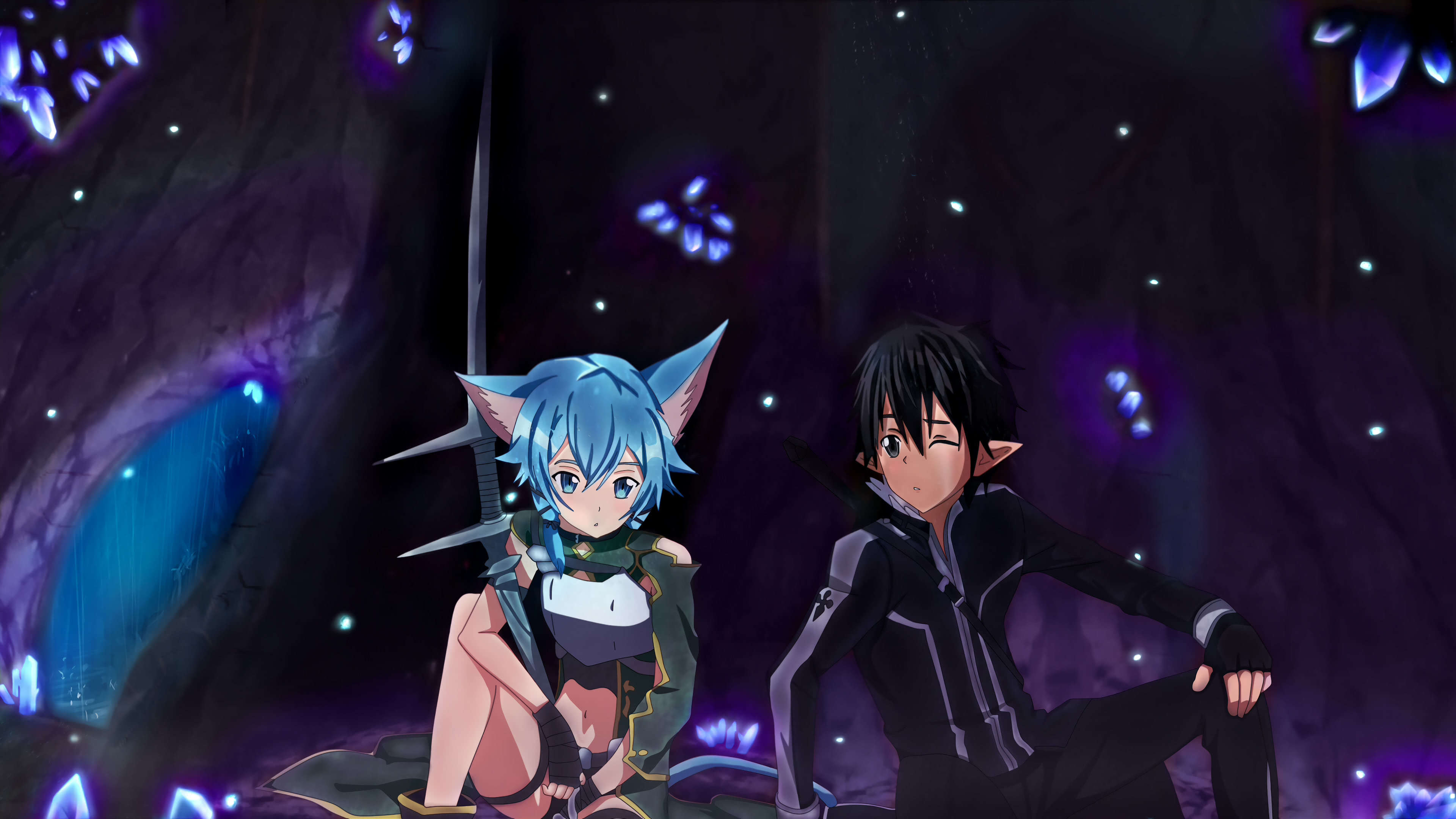 Sword Art Online Sinon And Kirito Uhd 4k Wallpaper Pixelz
