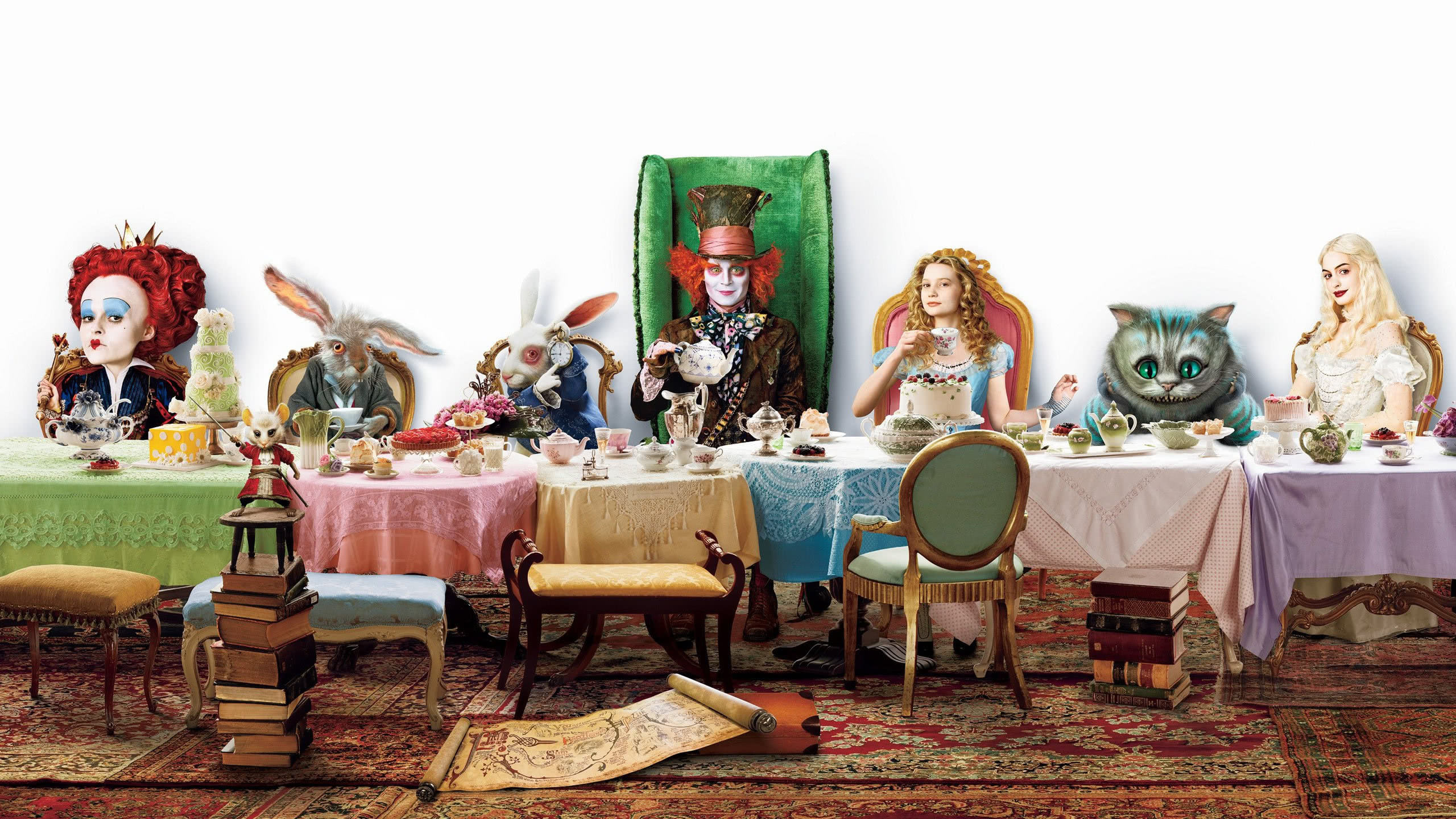alice adventures in wonderland tea party table wqhd 1440p wallpaper