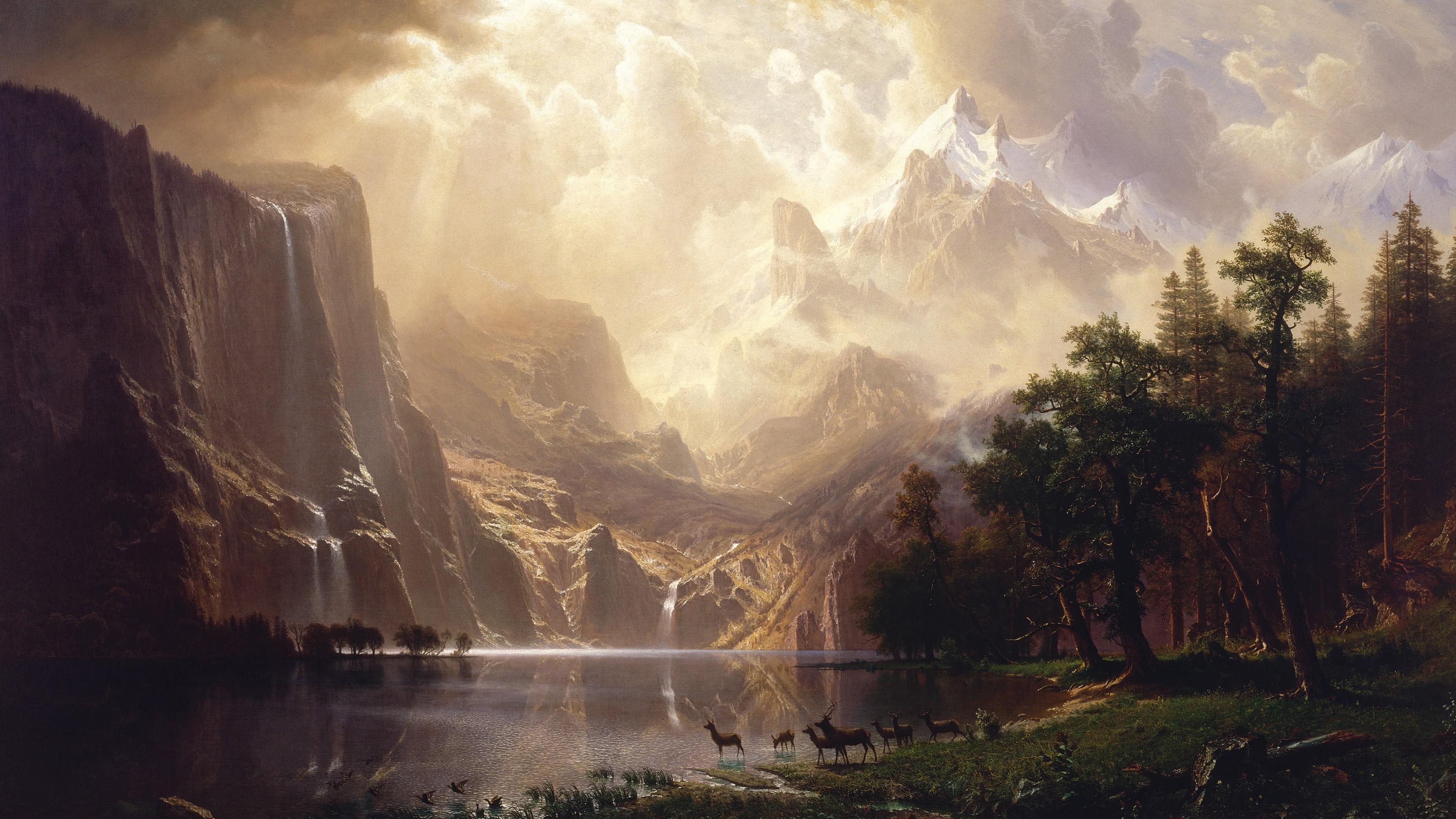 among the sierra nevada mountains california oil painting uhd 4k wallpaper