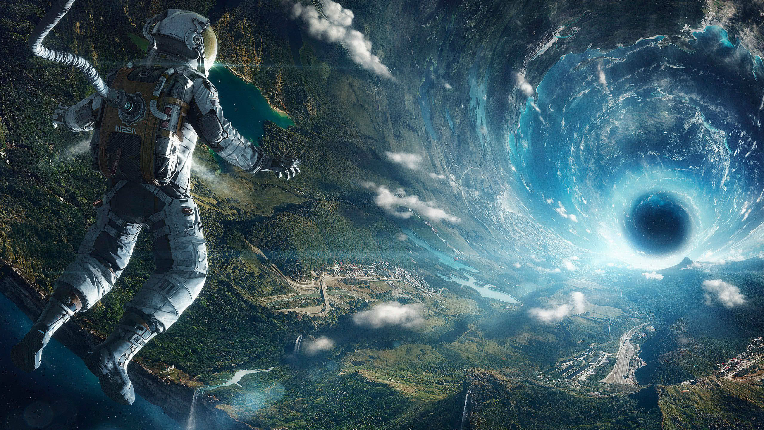 astronaut black hole wqhd 1440p wallpaper