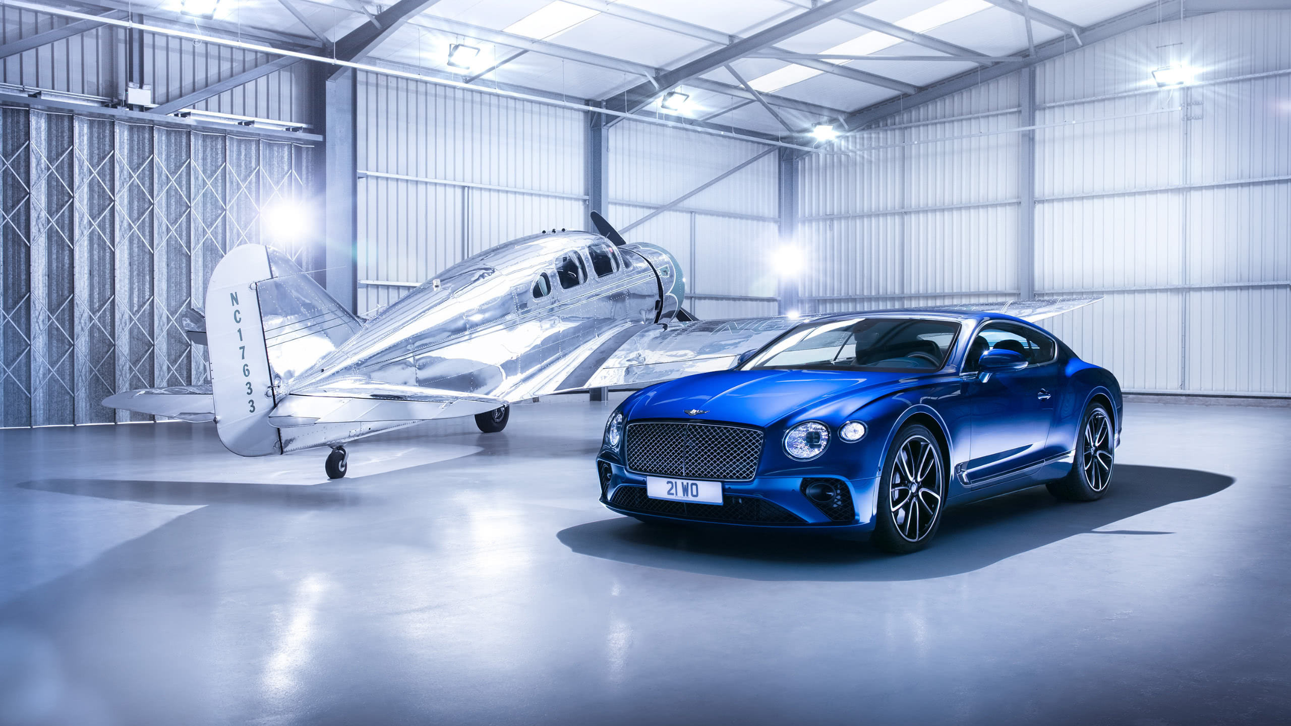 bentley continental gt and plane wqhd 1440p wallpaper