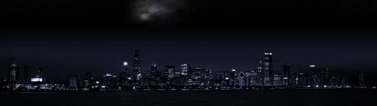 chicago skyline night dual monitor wallpaper