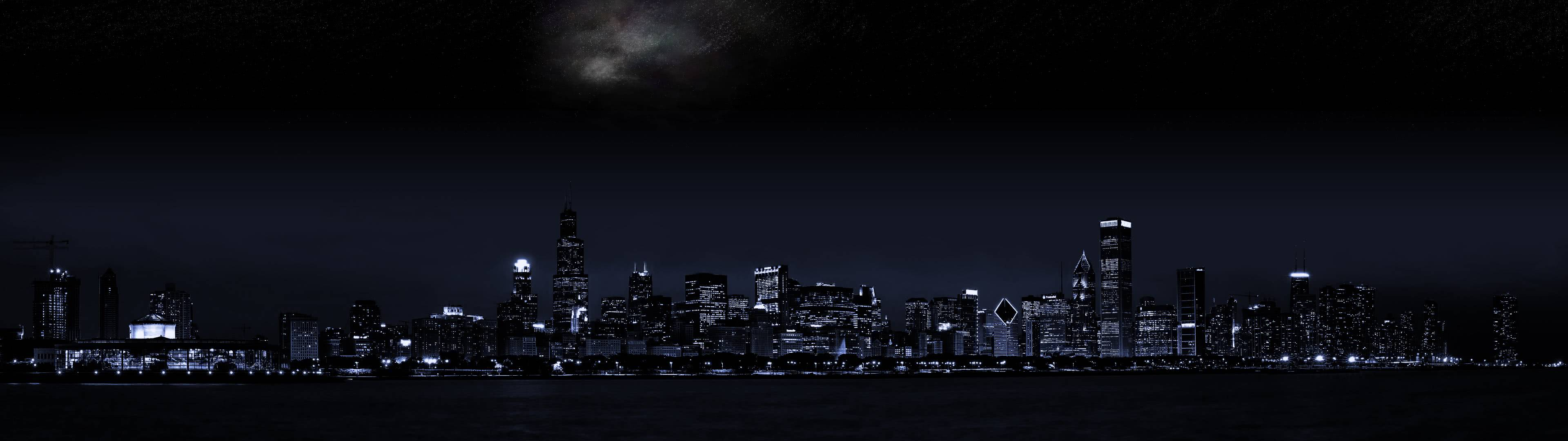 Chicago Skyline Night Dual Monitor Wallpaper Pixelz
