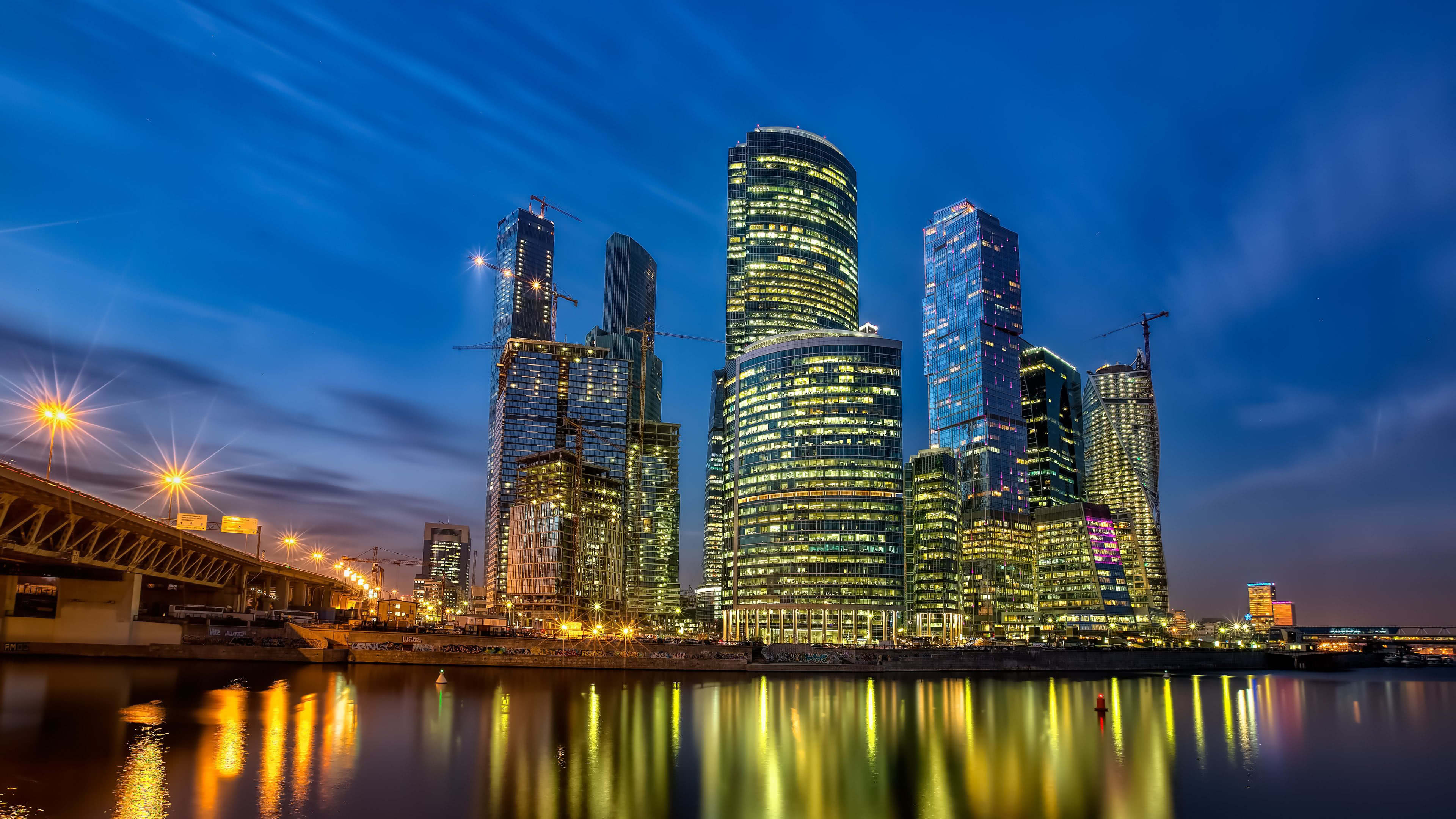City Skyline Moscow Russia UHD 4K Wallpaper