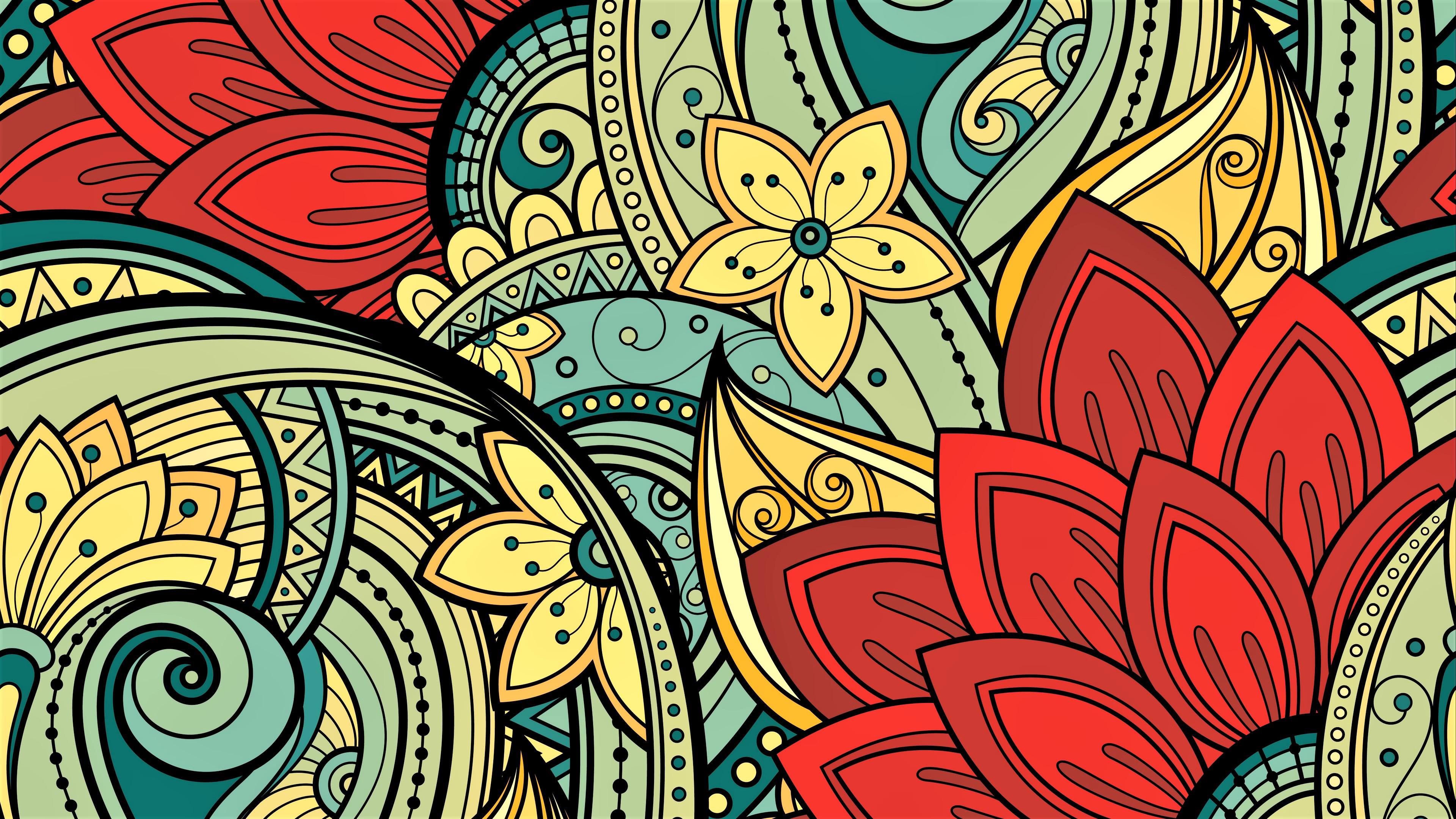floral art pattern uhd 4k wallpaper