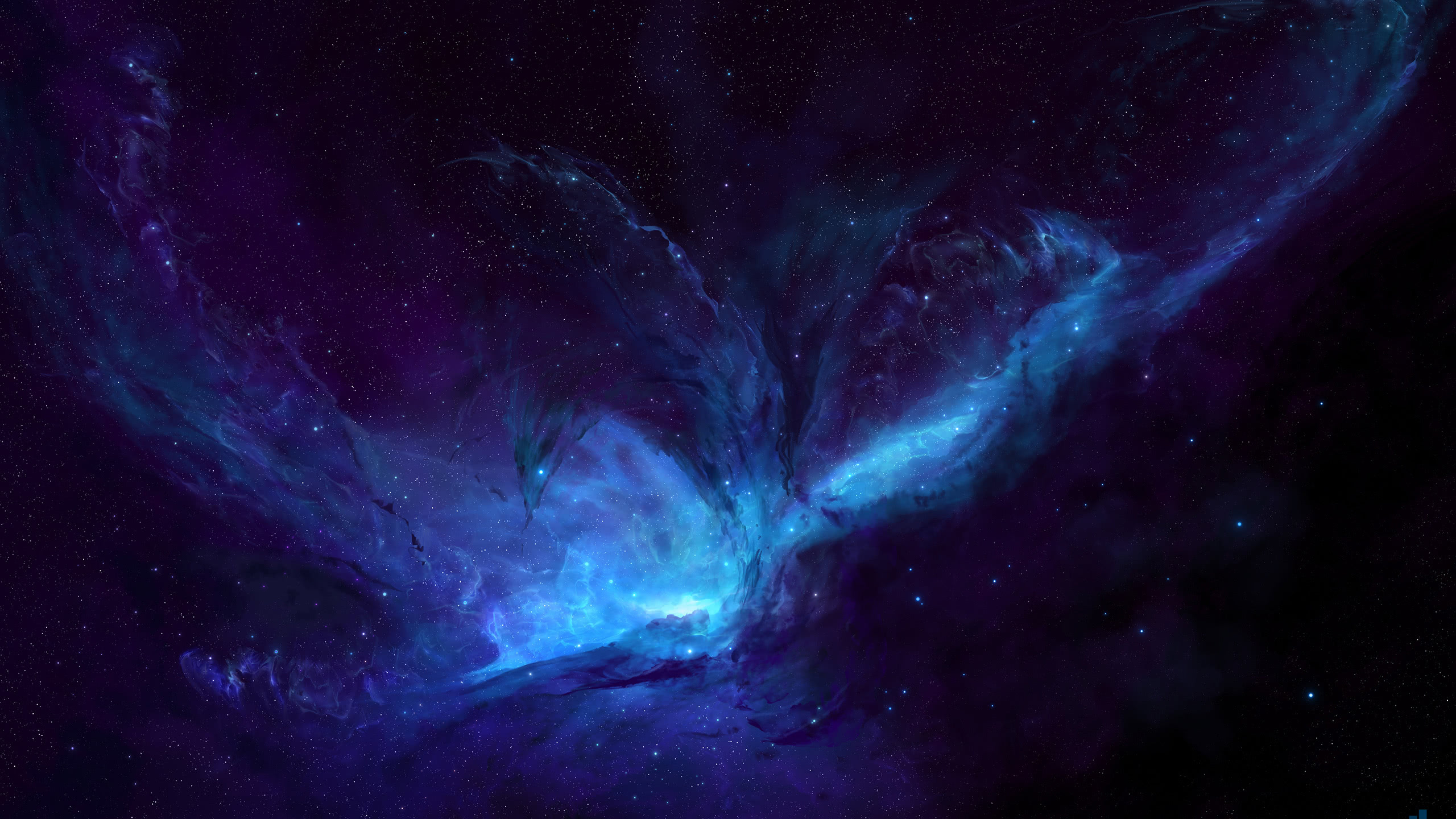 nebula blue wqhd 1440p wallpaper