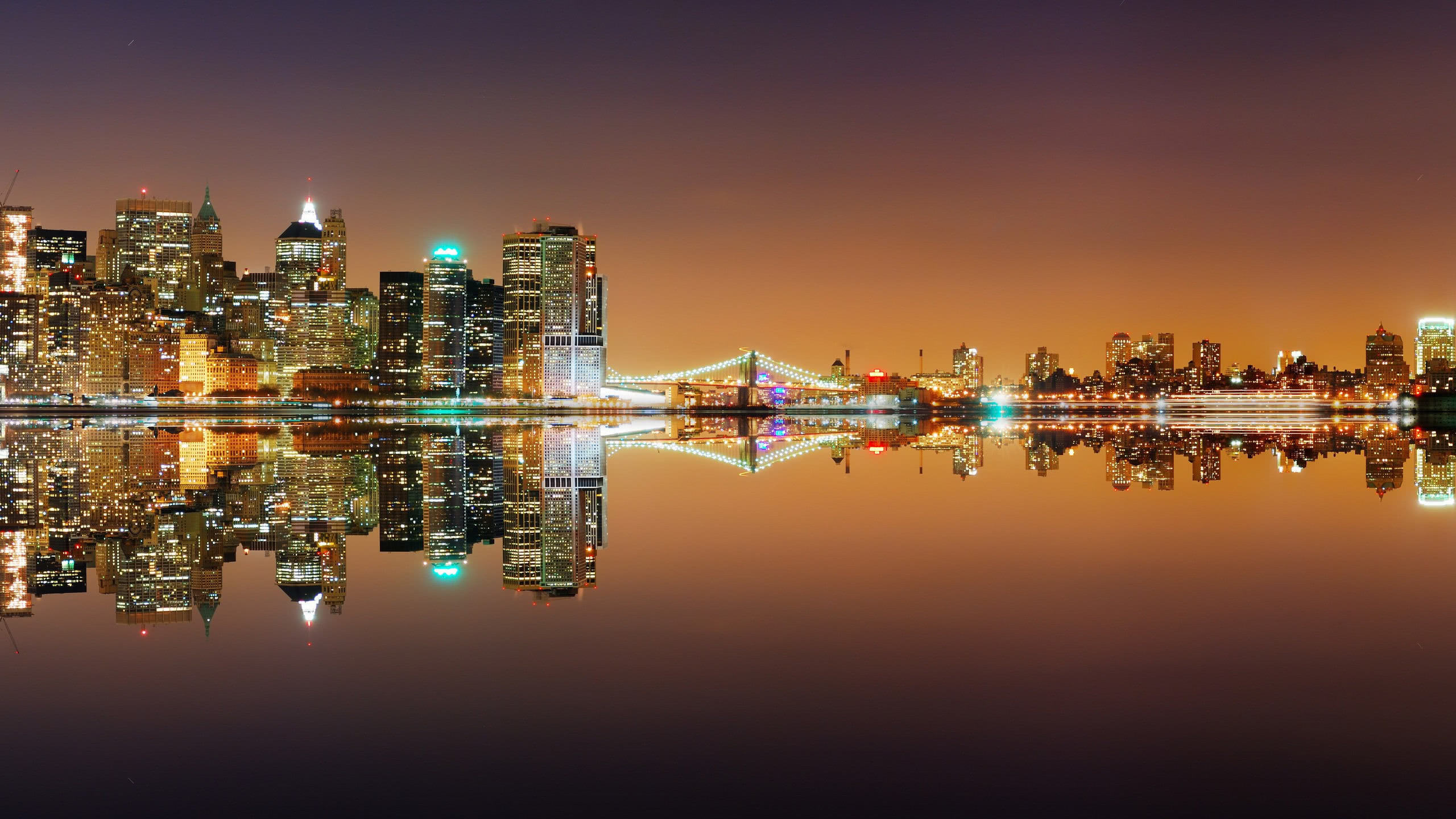 New York Skyline Night United States Wqhd 1440p Wallpaper Pixelz