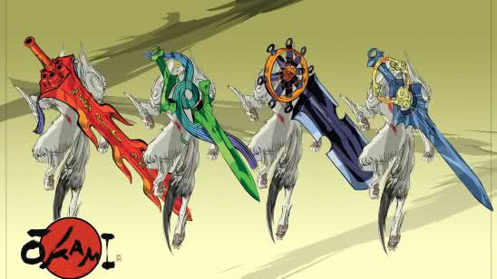 okami swords wqhd 1440p wallpaper
